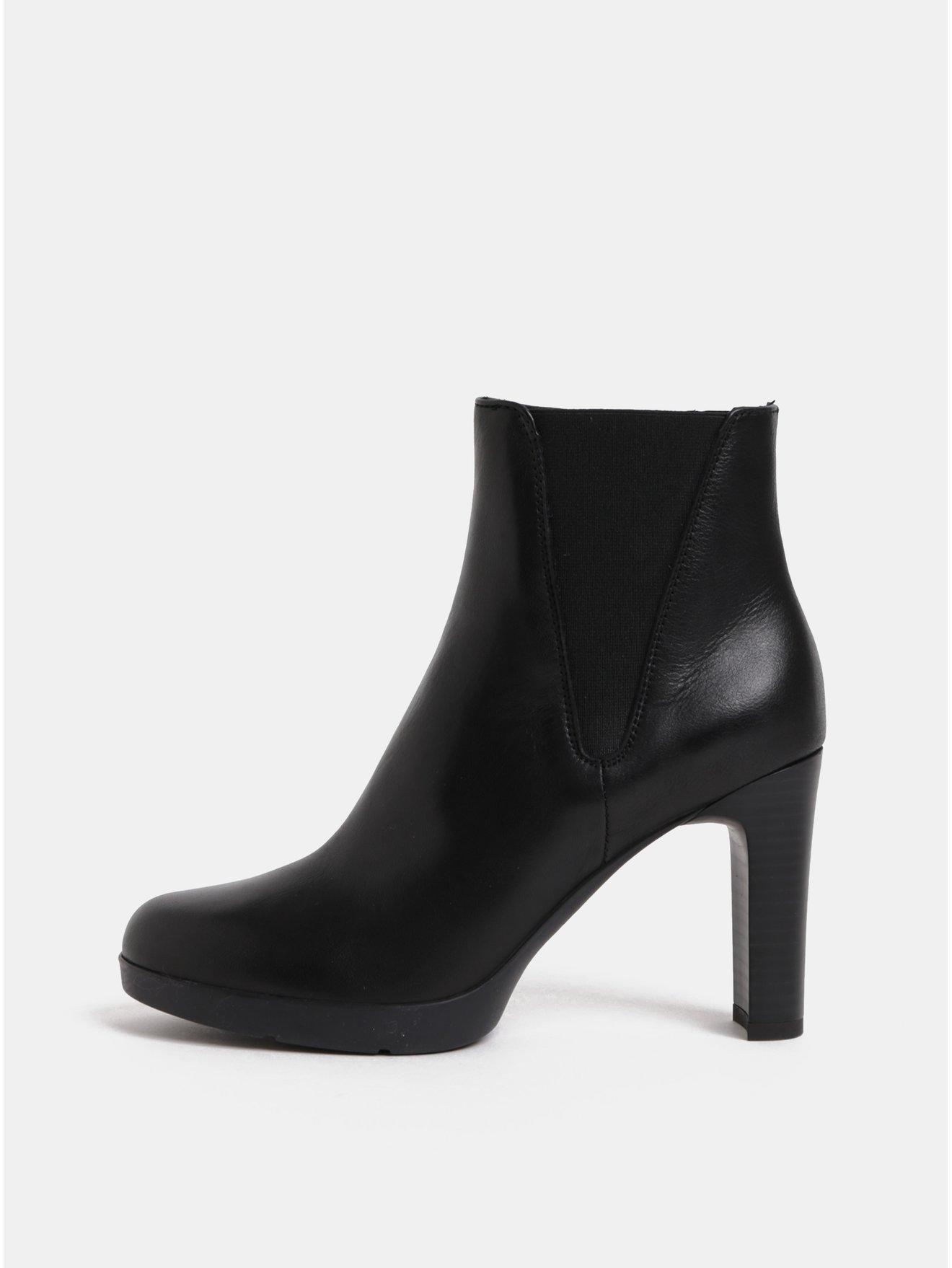 a4db564fb4d Černé dámské kožené kotníkové boty na vysokém podpatku Geox Annya