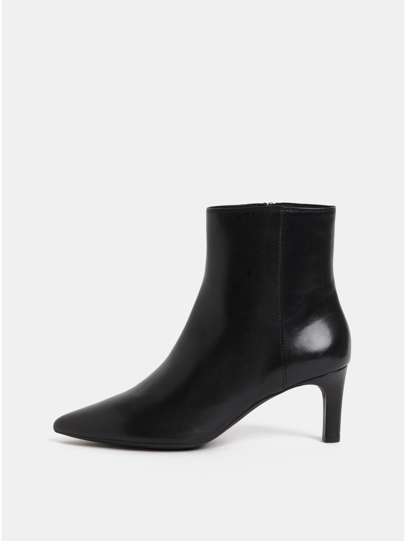 44a8ab8c3b Čierne dámske kožené členkové topánky na úzkom podpätku Geox Bibbiana