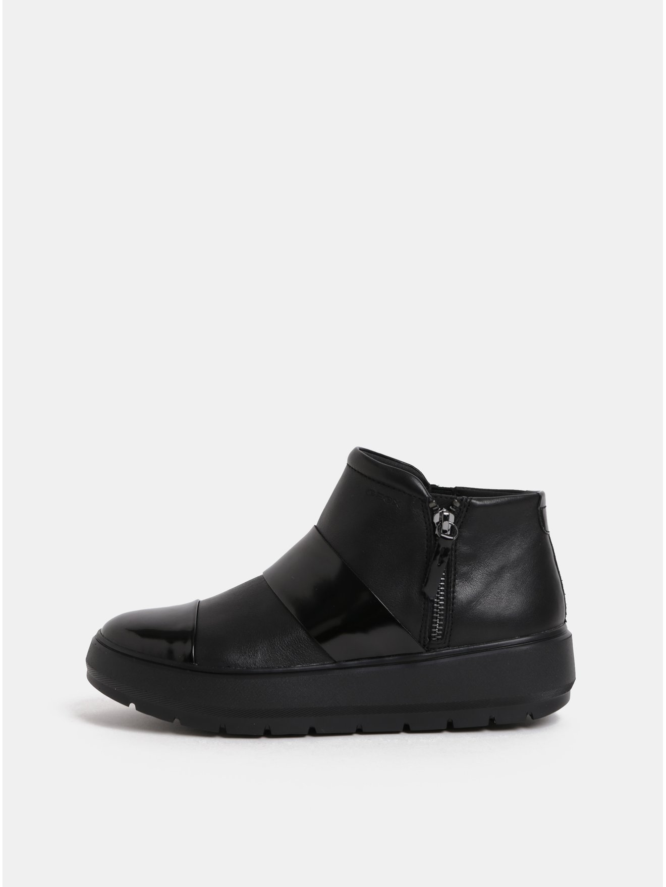 Černé dámské kožené kotníkové boty na platformě Geox Kaula
