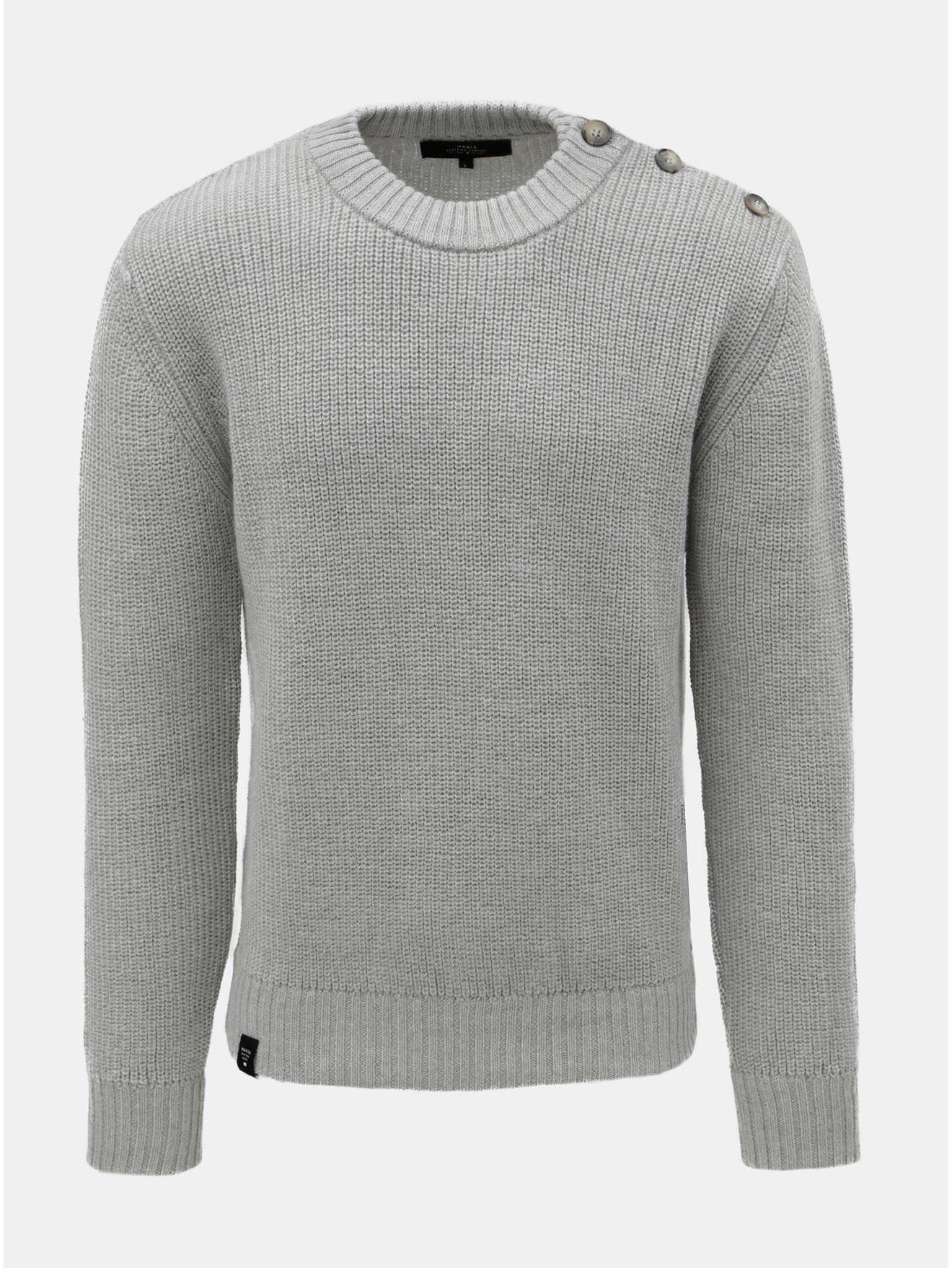 3df36cdef79 Světle šedý pánský svetr z Merino vlny a s knoflíky na ramenou Makia Admiral