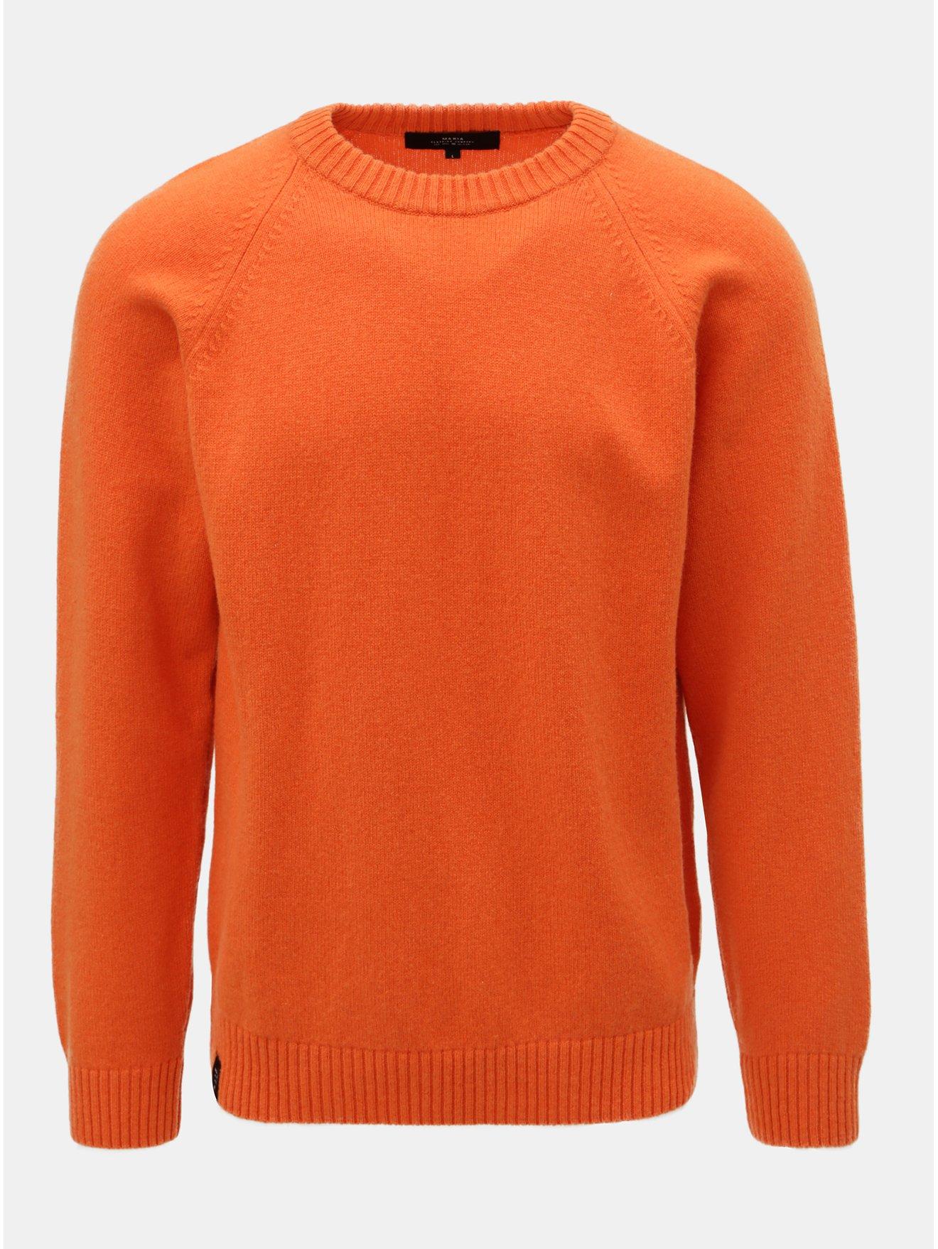 Oranžový pánský svetr z Merino vlny Makia Nordic