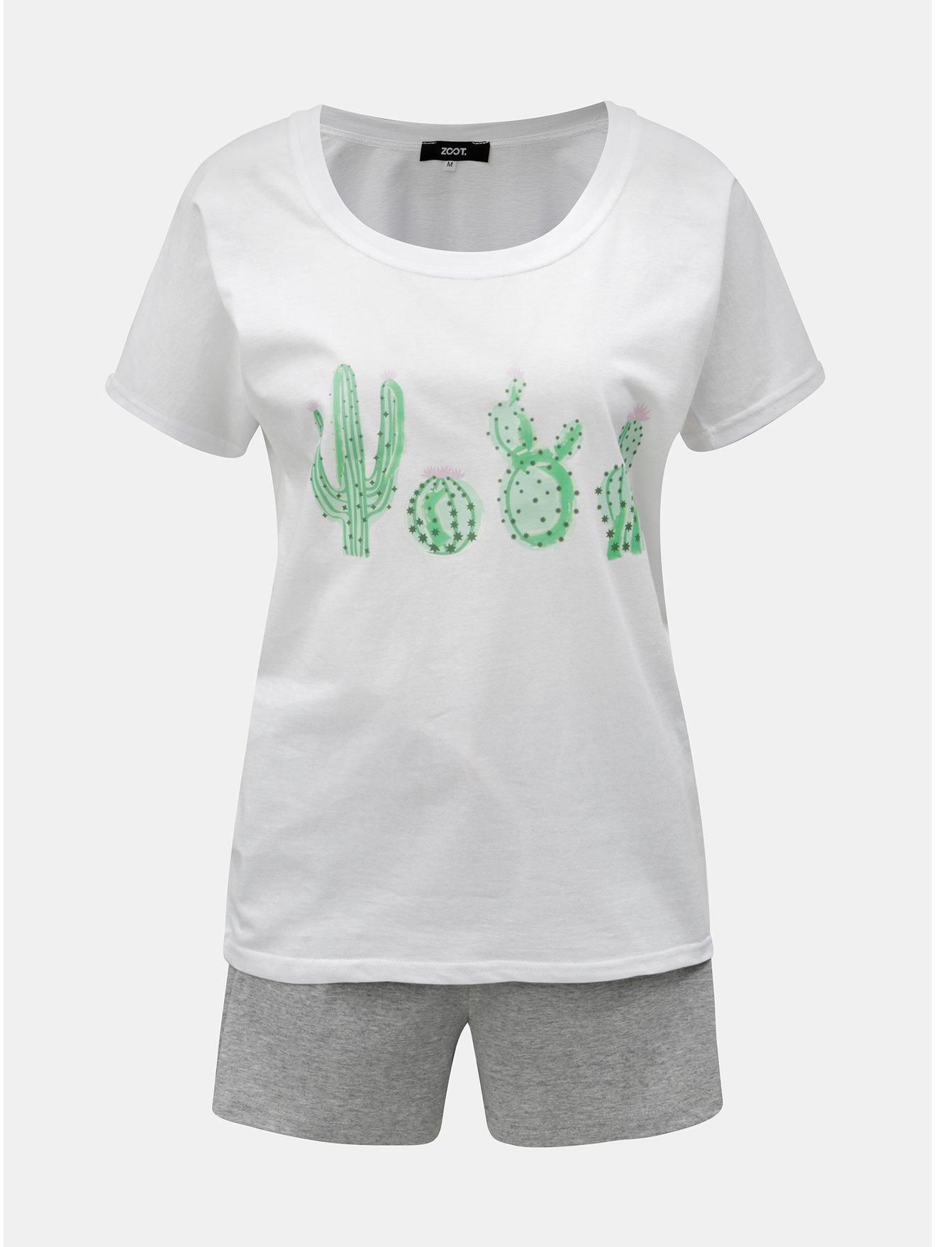Šedo-bílé dámské dvoudílné žíhané pyžamo s motivem kaktusů ZOOT c1073c781a