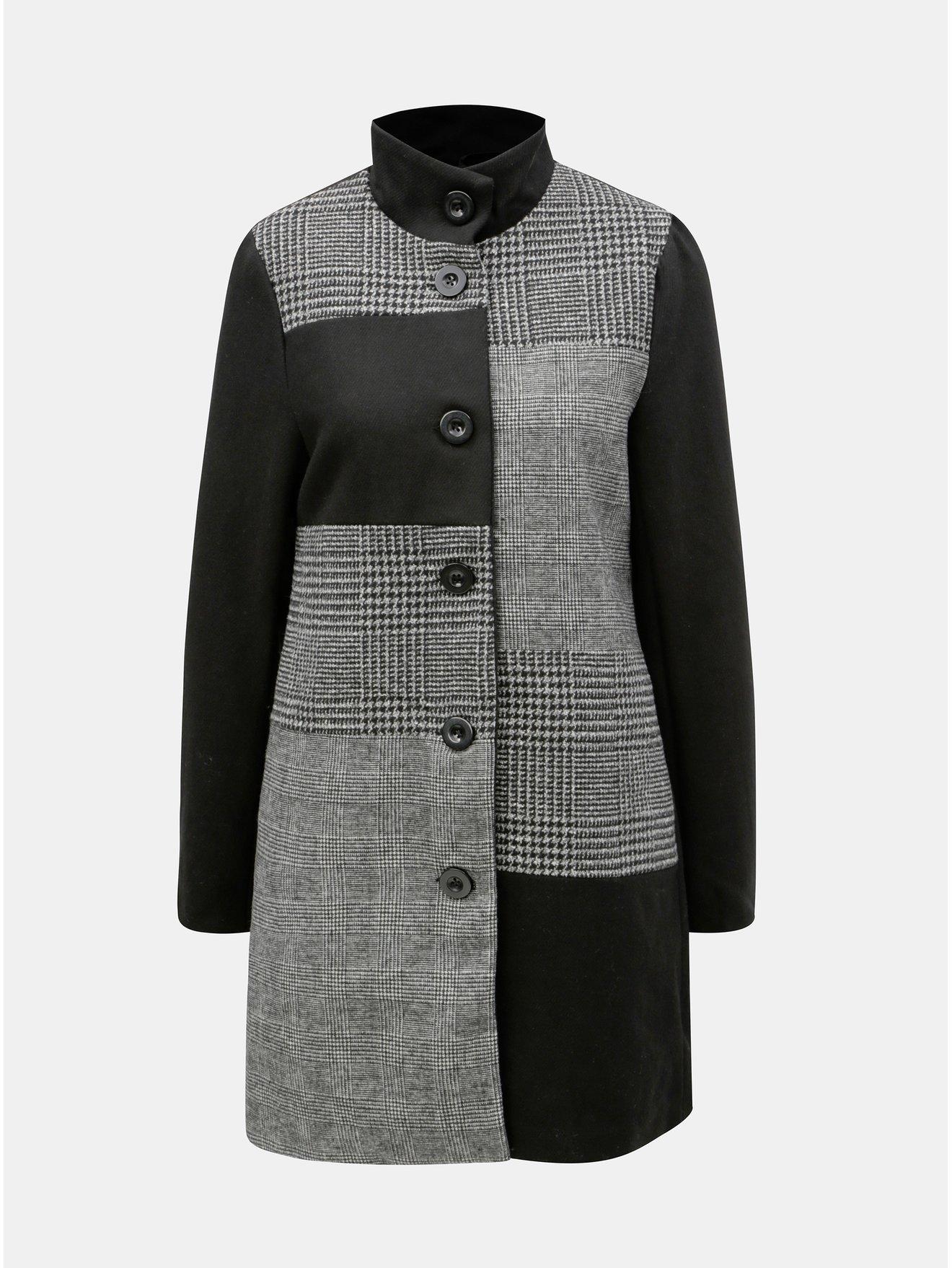 Černo-šedý vzorovaný vlněný kabát Yest c907c8b6310