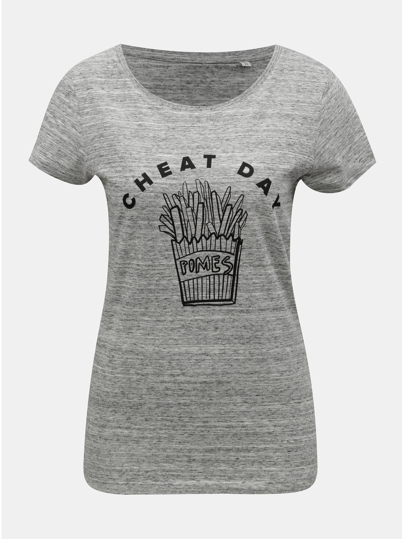 Šedé dámské žíhané tričko s motivem hranolek ZOOT Original Cheat day 49b0b50d00