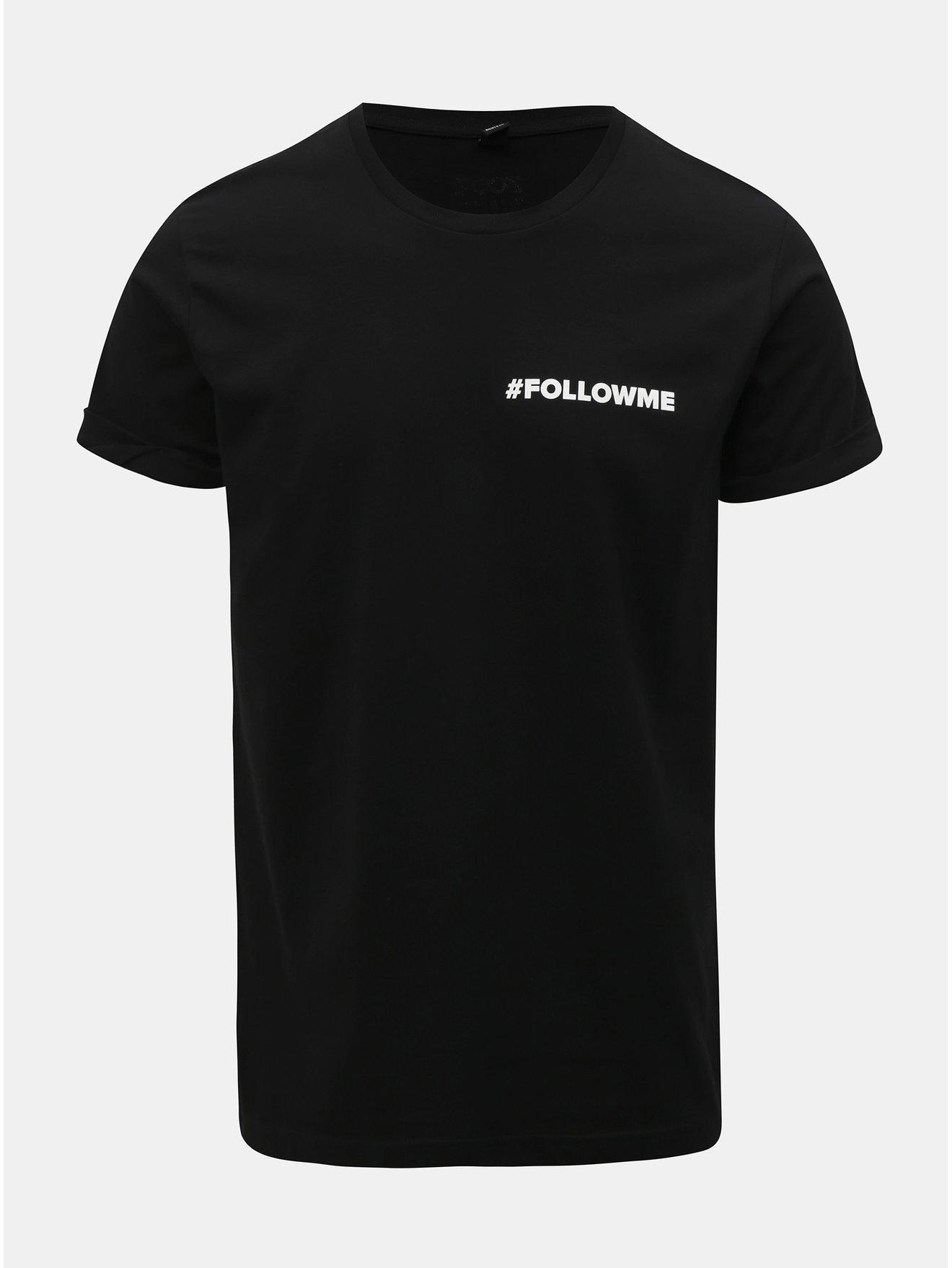 2835e9508d7 Černé pánské tričko s potiskem ZOOT Original Follow me