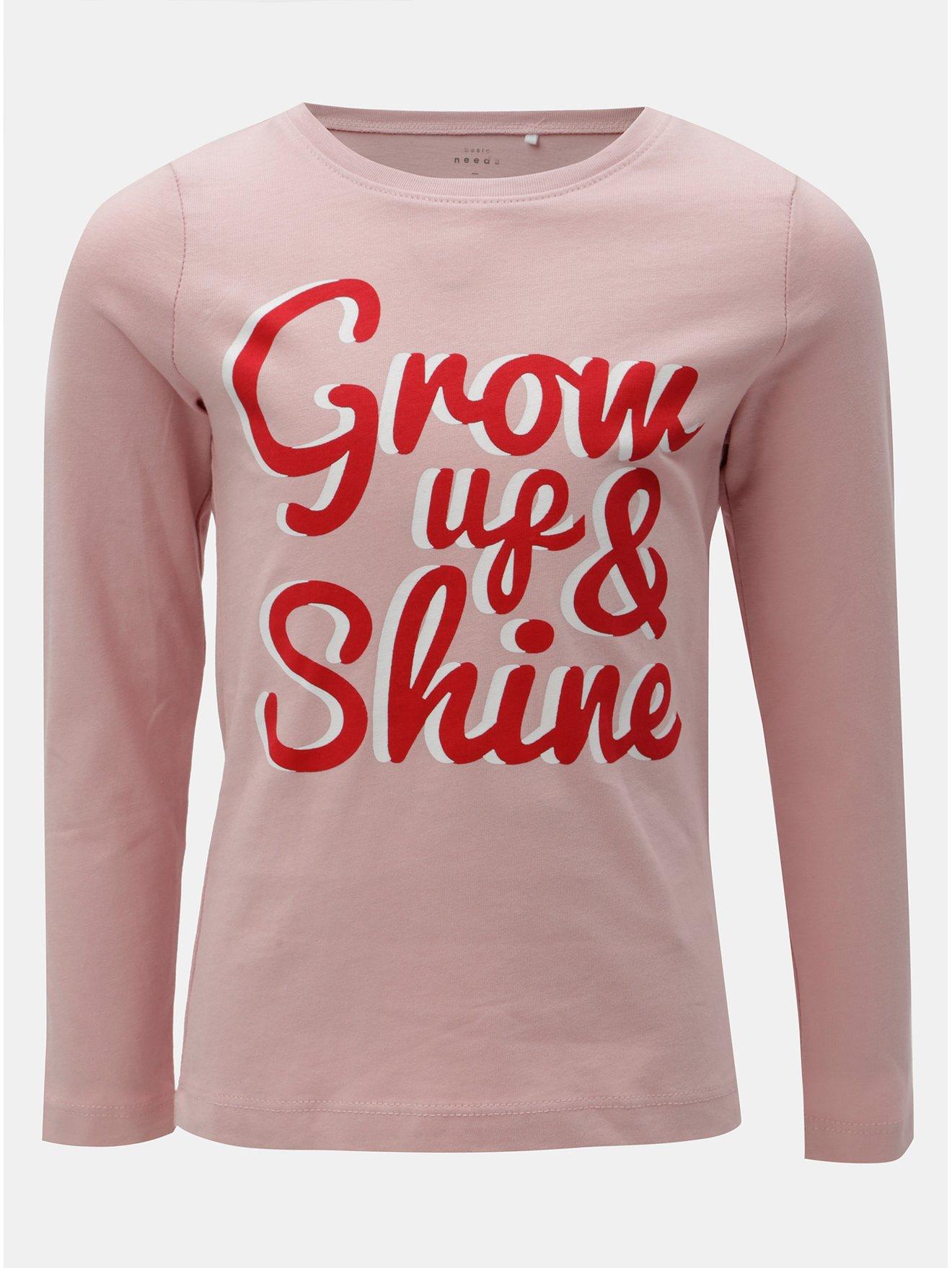 Fotografie Růžové holčičí tričko s potiskem a dlouhým rukávem Name it Veen