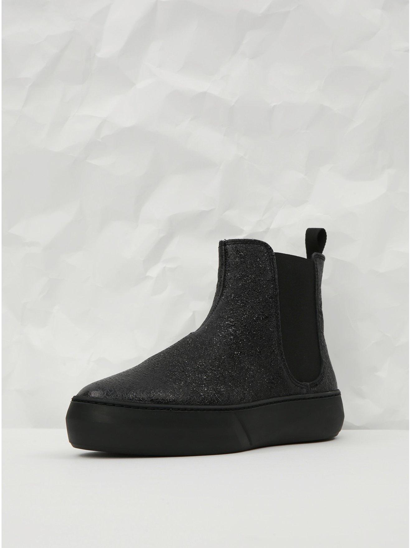 Černé kožené chelsea boty na platformě Frau Ferrer