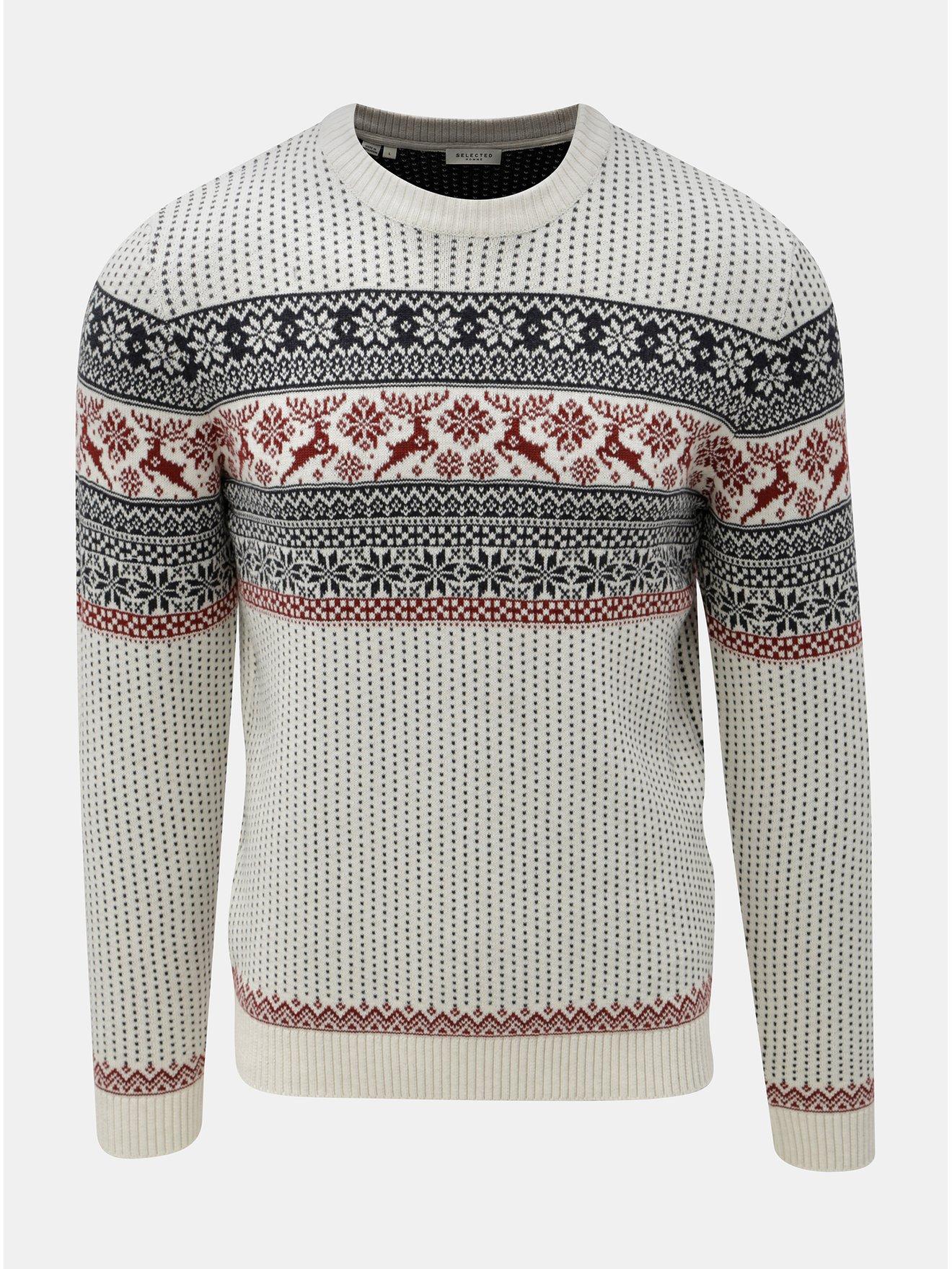 b515d7426c52 Krémový sveter s nórskym vzorom Selected Homme Deer Crew
