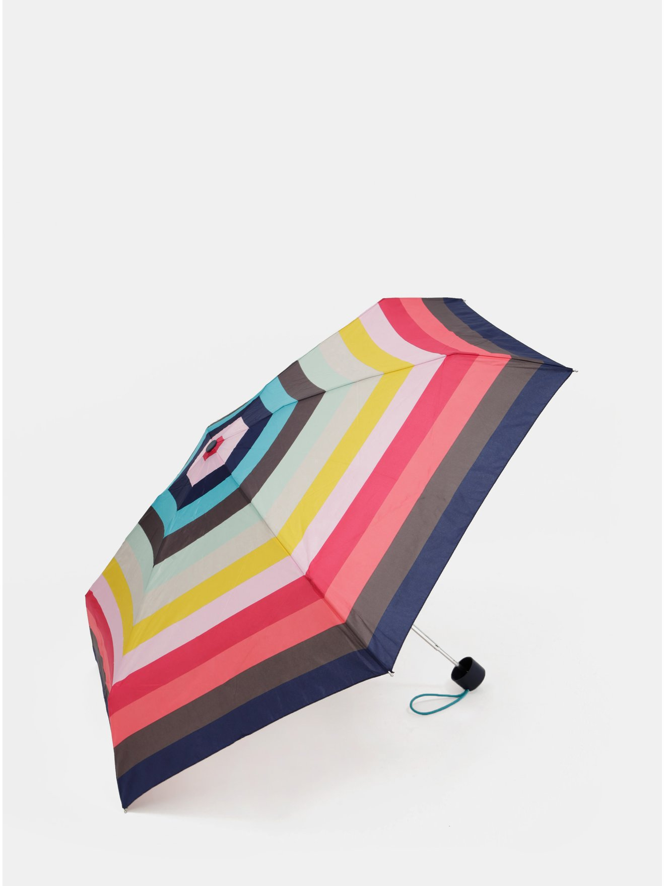 Růžovo-zelený pruhovaný skládací deštník Esprit Candystripe