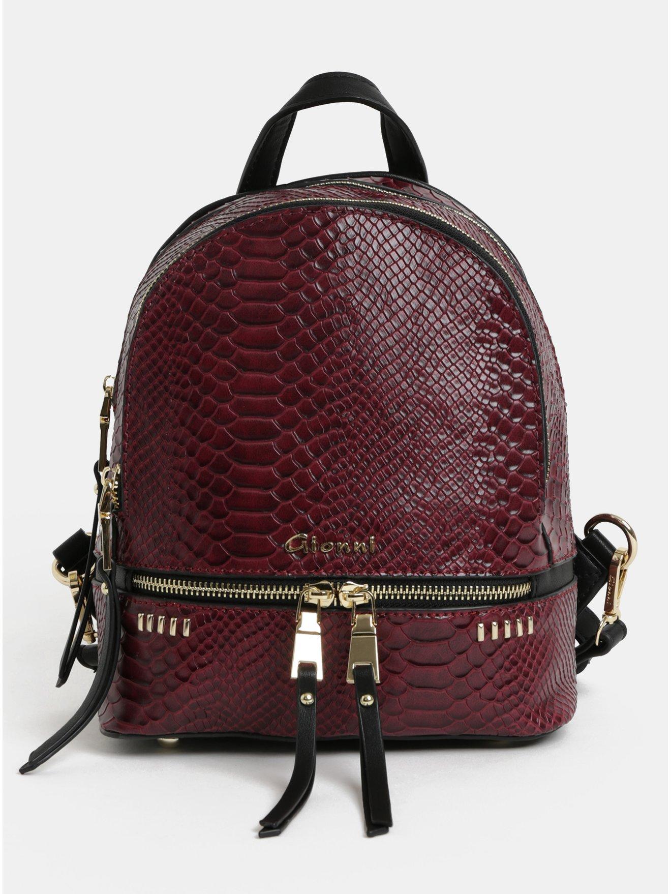Černo-vínový batoh s hadím vzorem Gionni Jade 9b34ec1b72