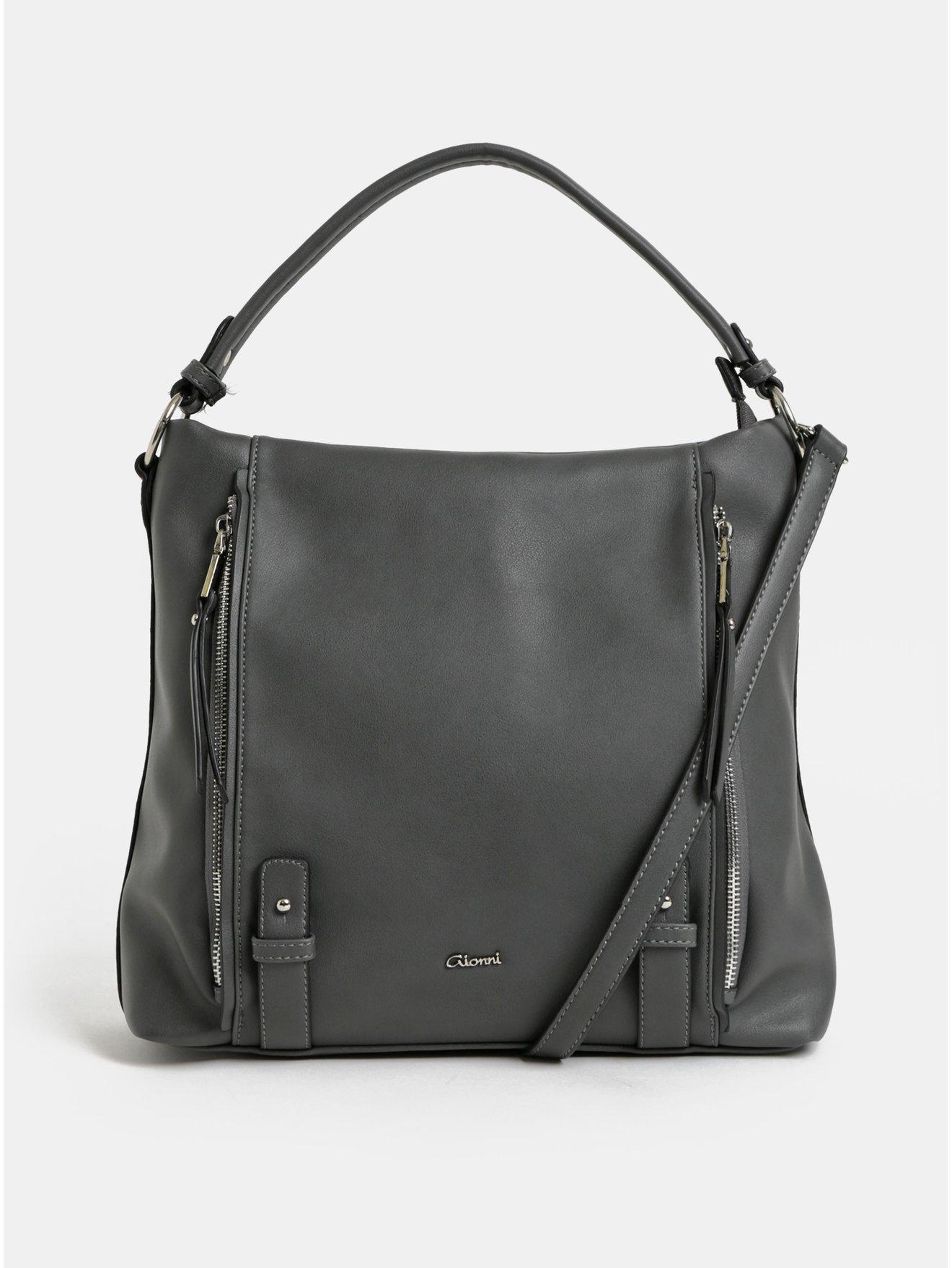 Tmavě šedá kabelka přes rameno s detaily ve stříbrné barvě Gionni Jasmine
