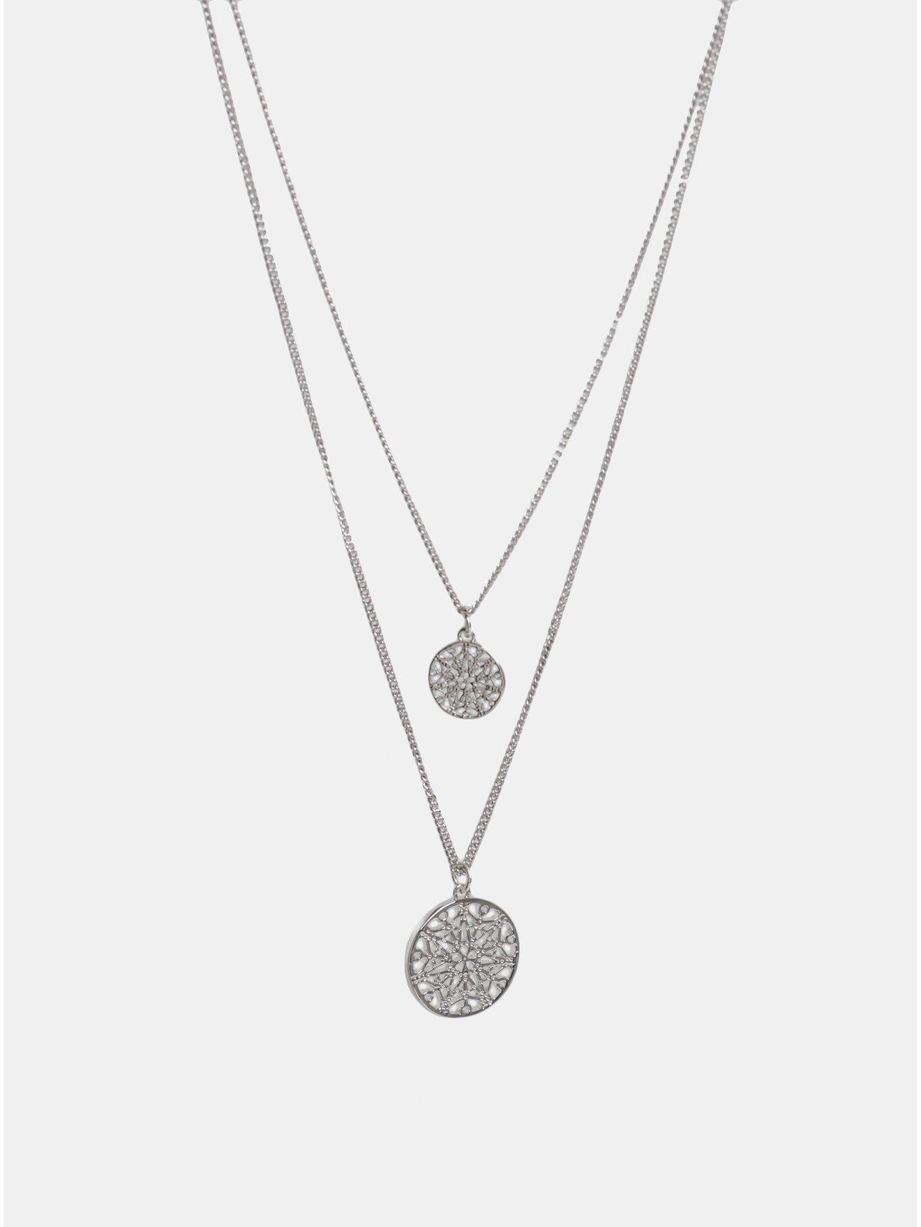 0528fb0e8 Náhrdelník ve stříbrné barvě se dvěma přívěšky Pieces Kilah