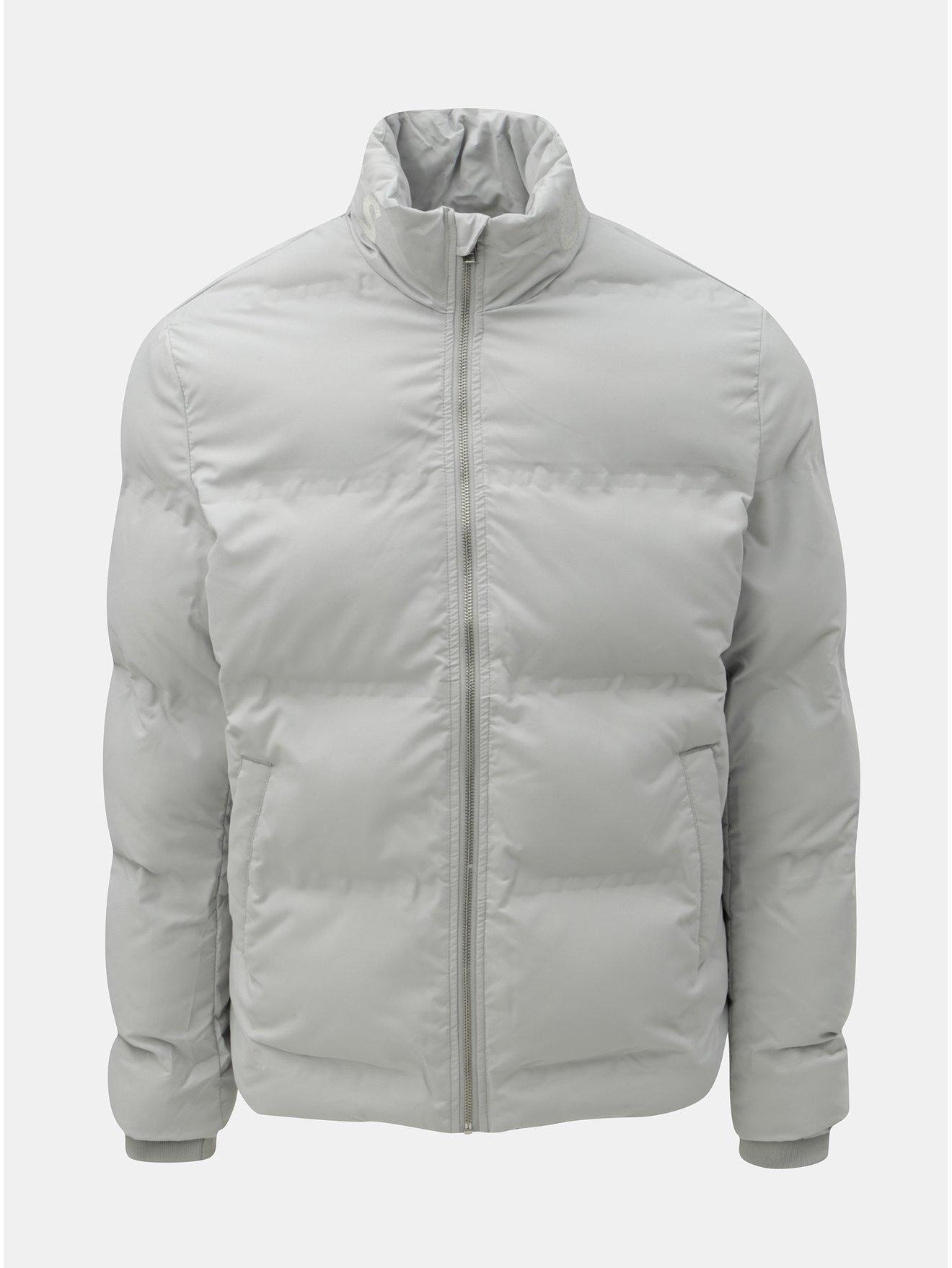 Světle šedá prošívaná voděodolná zimní bunda Jack & Jones Rumple