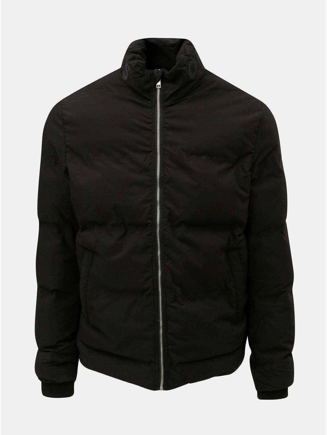Černá prošívaná voděodolná zimní bunda Jack & Jones Rumple