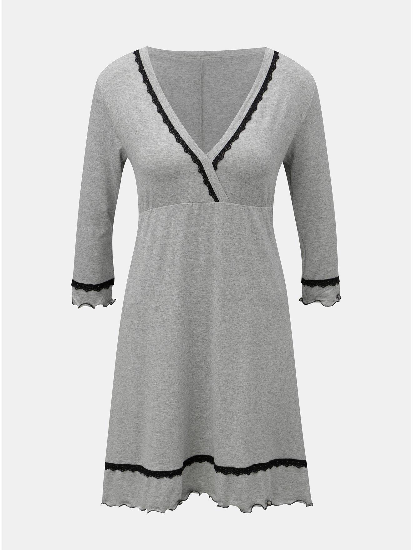 Světle šedá žíhaná košilka s 3/4 rukávem Eldar Lea