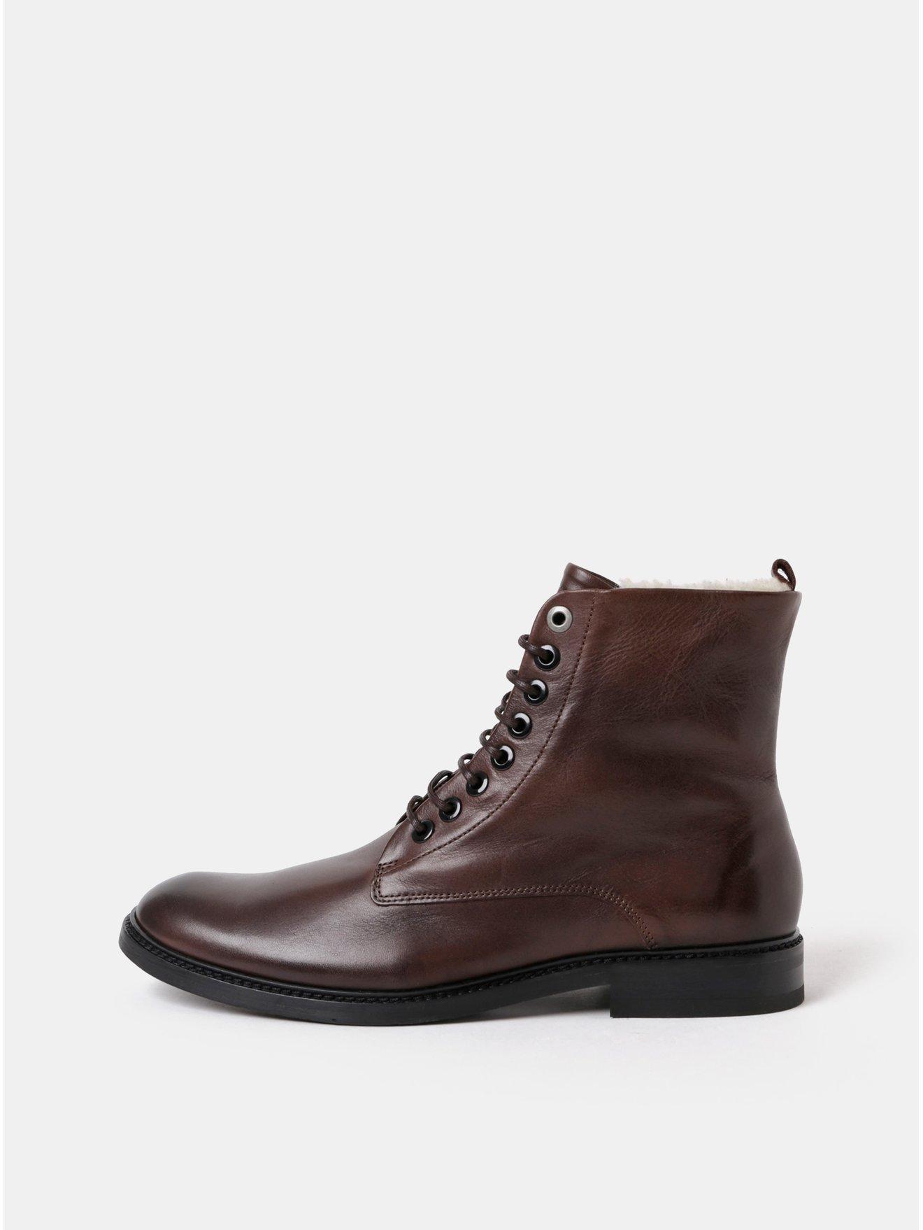 Tmavě hnědé pánské kožené kotníkové zimní boty Royal RepubliQ