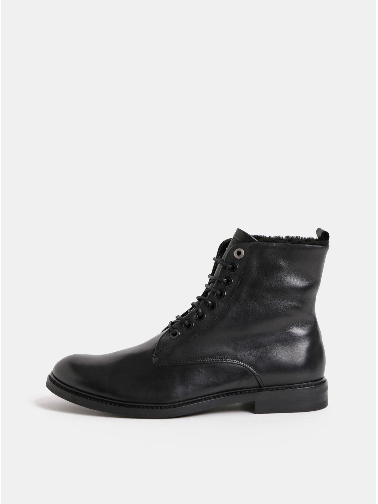 Černé pánské kožené kotníkové zimní boty Royal RepubliQ