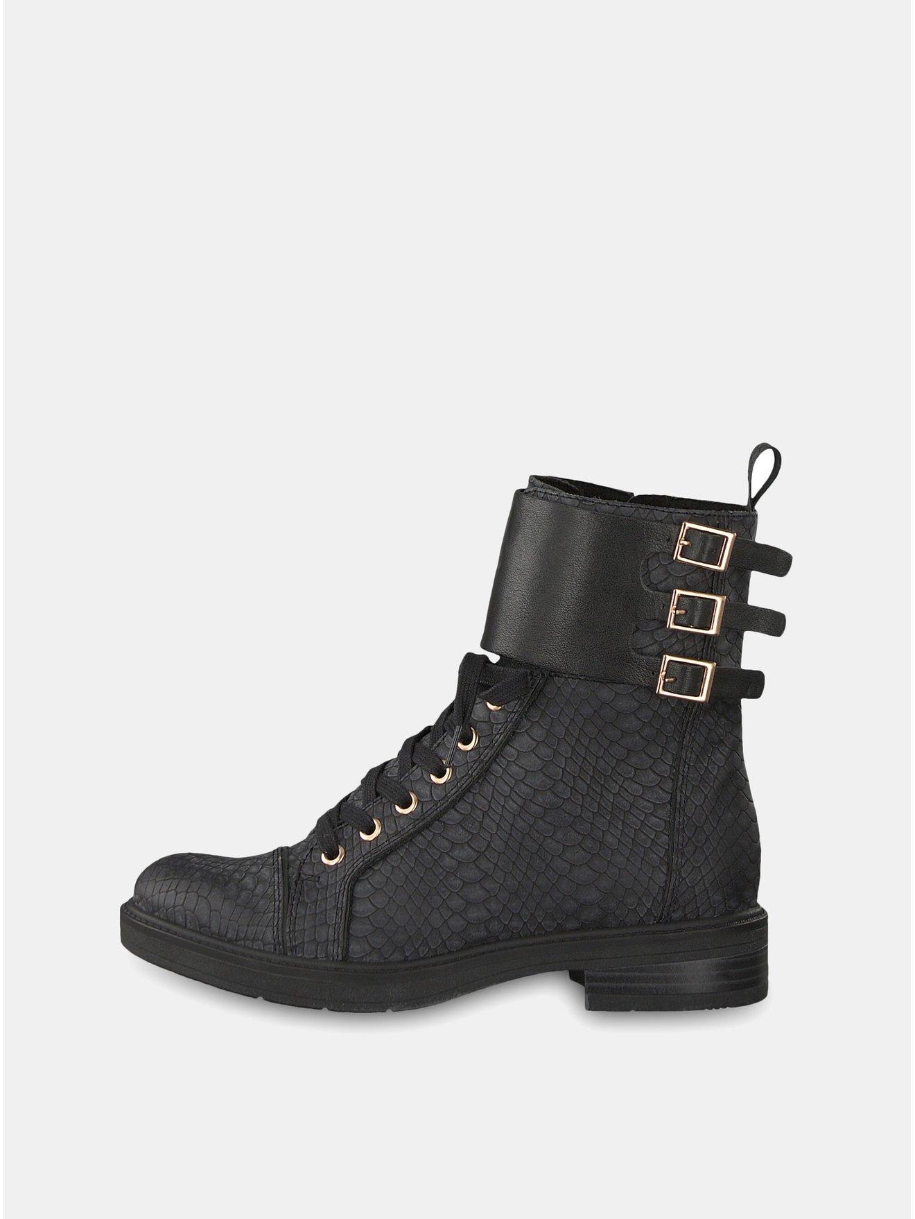 Černé kotníkové boty s imitací hadí kůže a koženými detaily Tamaris c5e24b8d87