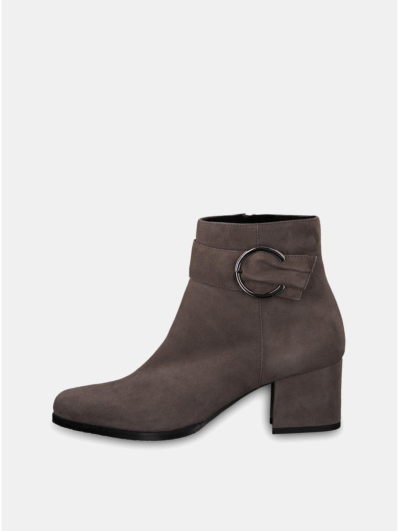 Šedé semišové kotníkové boty na podpatku s ozdobnou přezkou Tamaris
