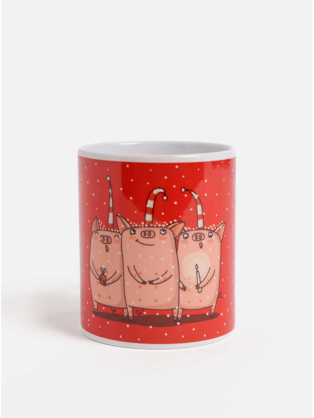 Červený hrnček s vianočným motívom prasiatok Butter Kings