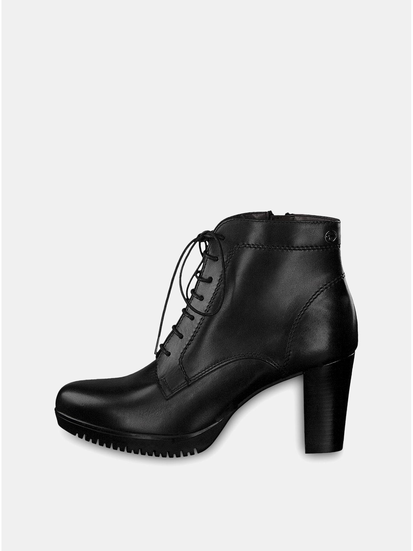 Černé kožené kotníkové boty na vysokém podpatku se šněrováním Tamaris