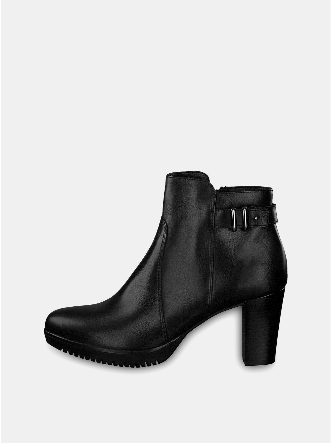 Černé kožené boty na vysokém podpatku s ozdobnou přezkou Tamaris