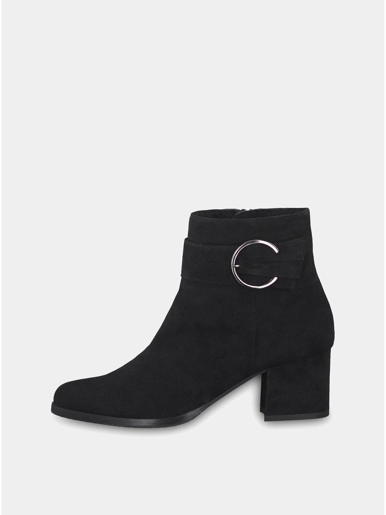 5eefc572dd Čierne semišové členkové topánky na podpätku s ozdobnou prackou Tamaris