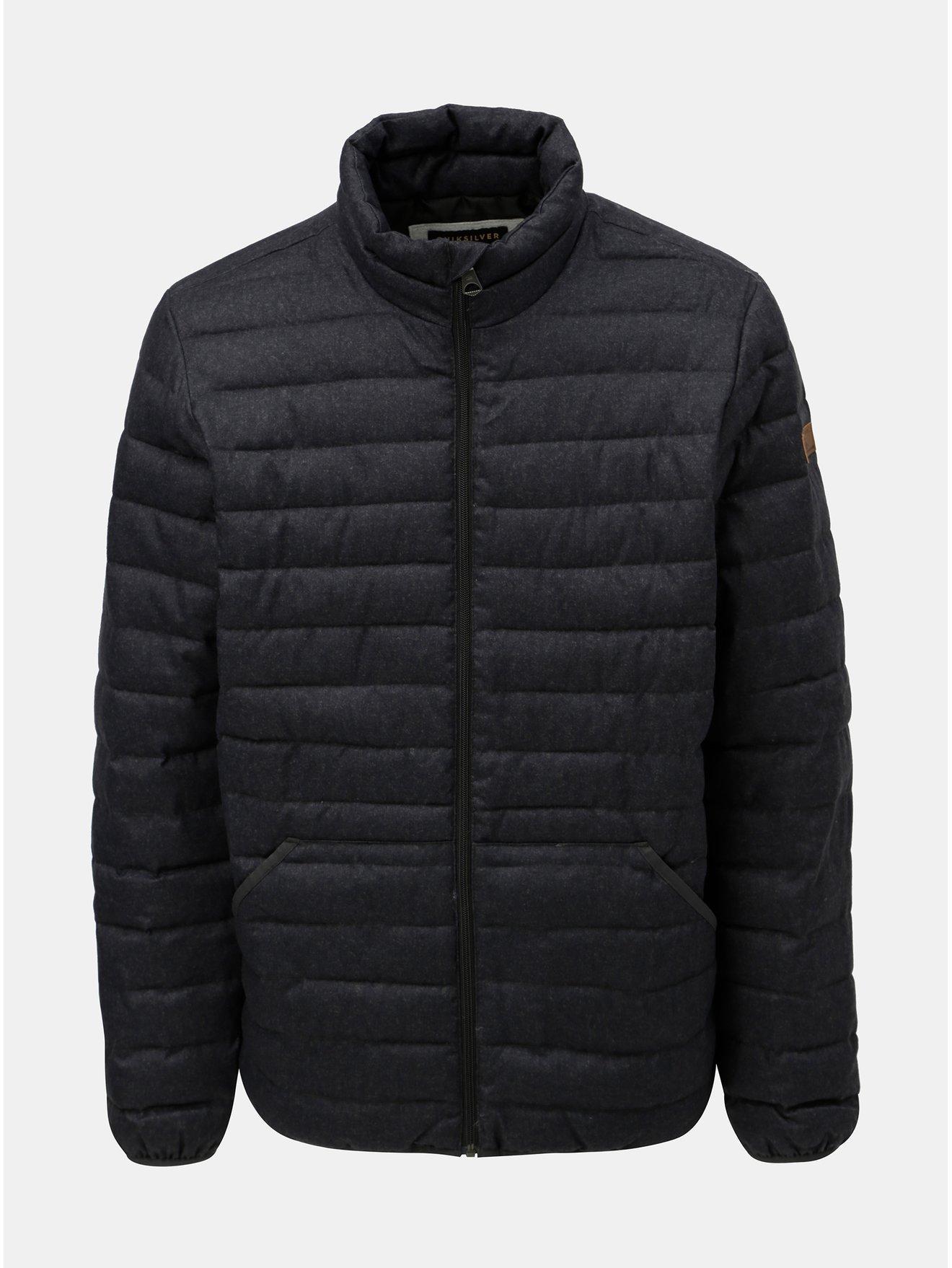Tmavě šedá pánská prošívaná voděodolná zimní bunda Quiksilver Scaly
