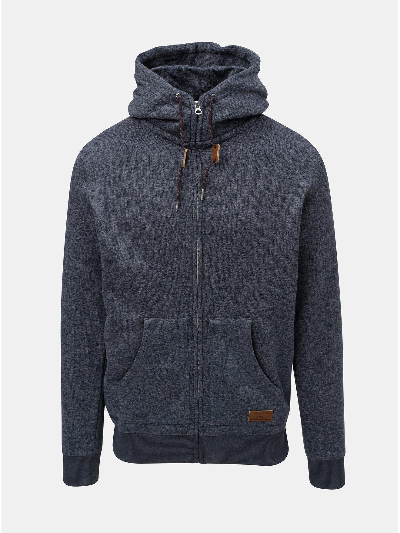 Modrý pánský žíhaný svetr s kapucí na zip Quiksilver Keller