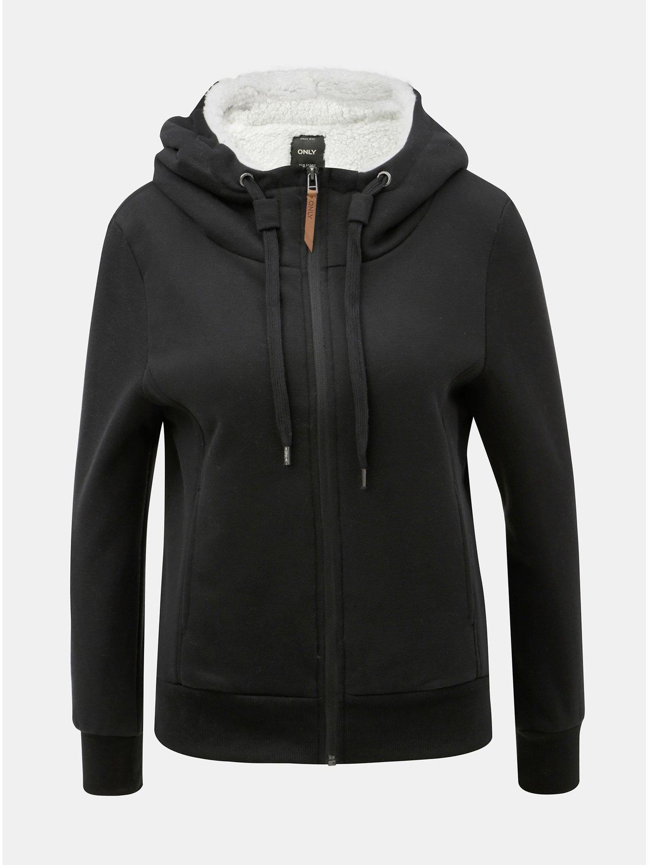 Černá mikina s umělým kožíškem ONLY Saga 24c2d0e277