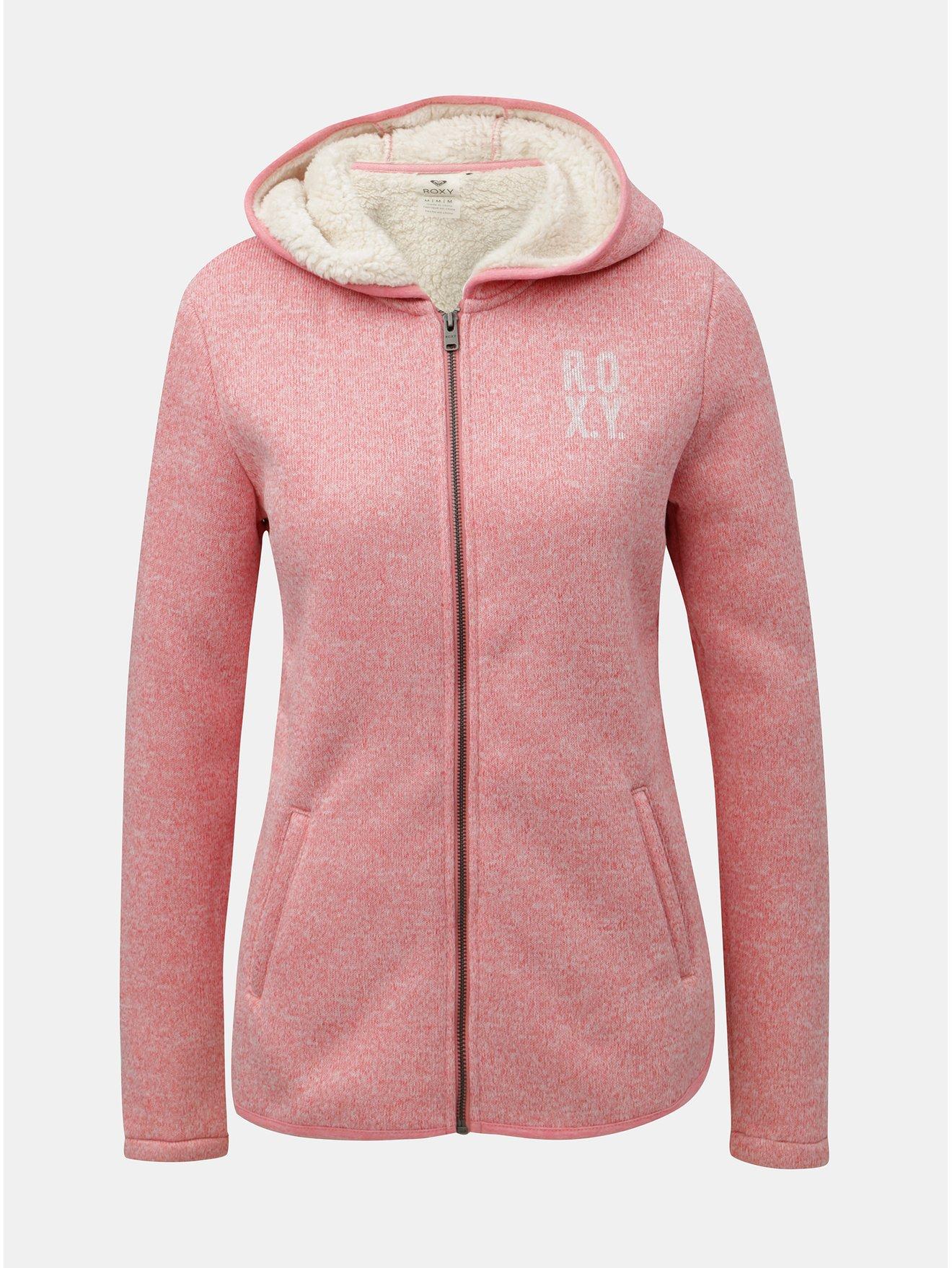 Růžový dámský fleecový svetr na zip s vnitřním umělým kožíškem Roxy Cosy a9eb9c9a4f