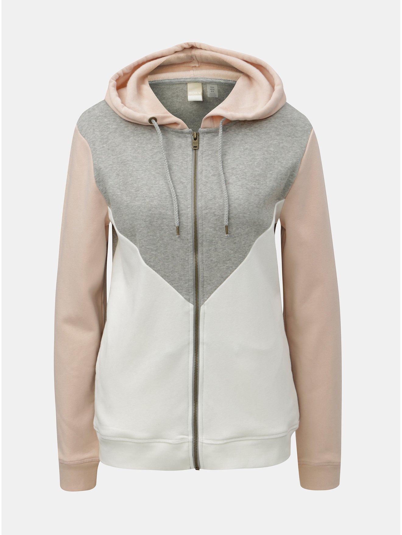 b54c8ee1726 Růžovo-šedá dámská mikina na zip Roxy Sacred