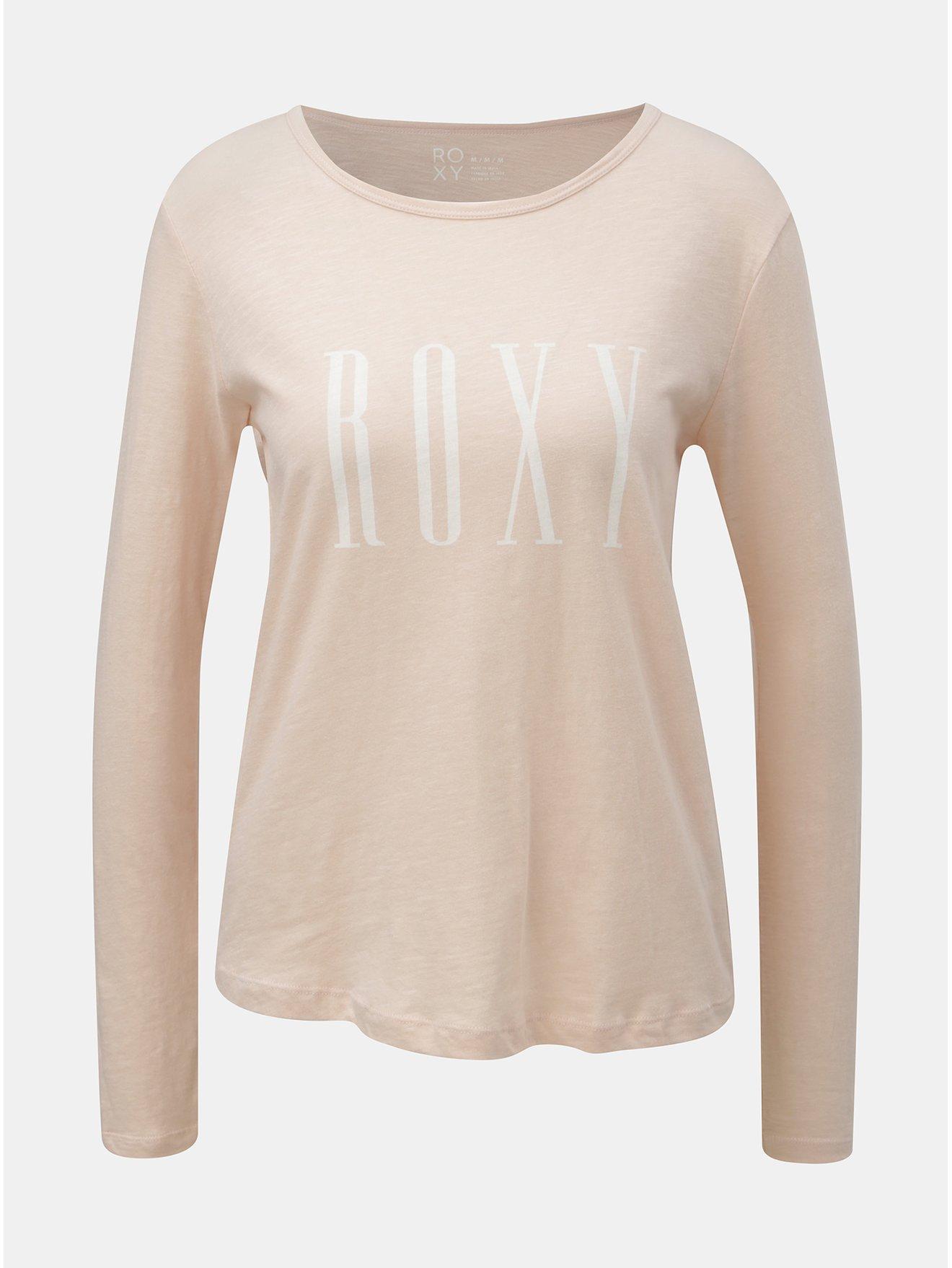 Starorůžové tričko s dlouhým rukávem a potiskem Roxy Sunset