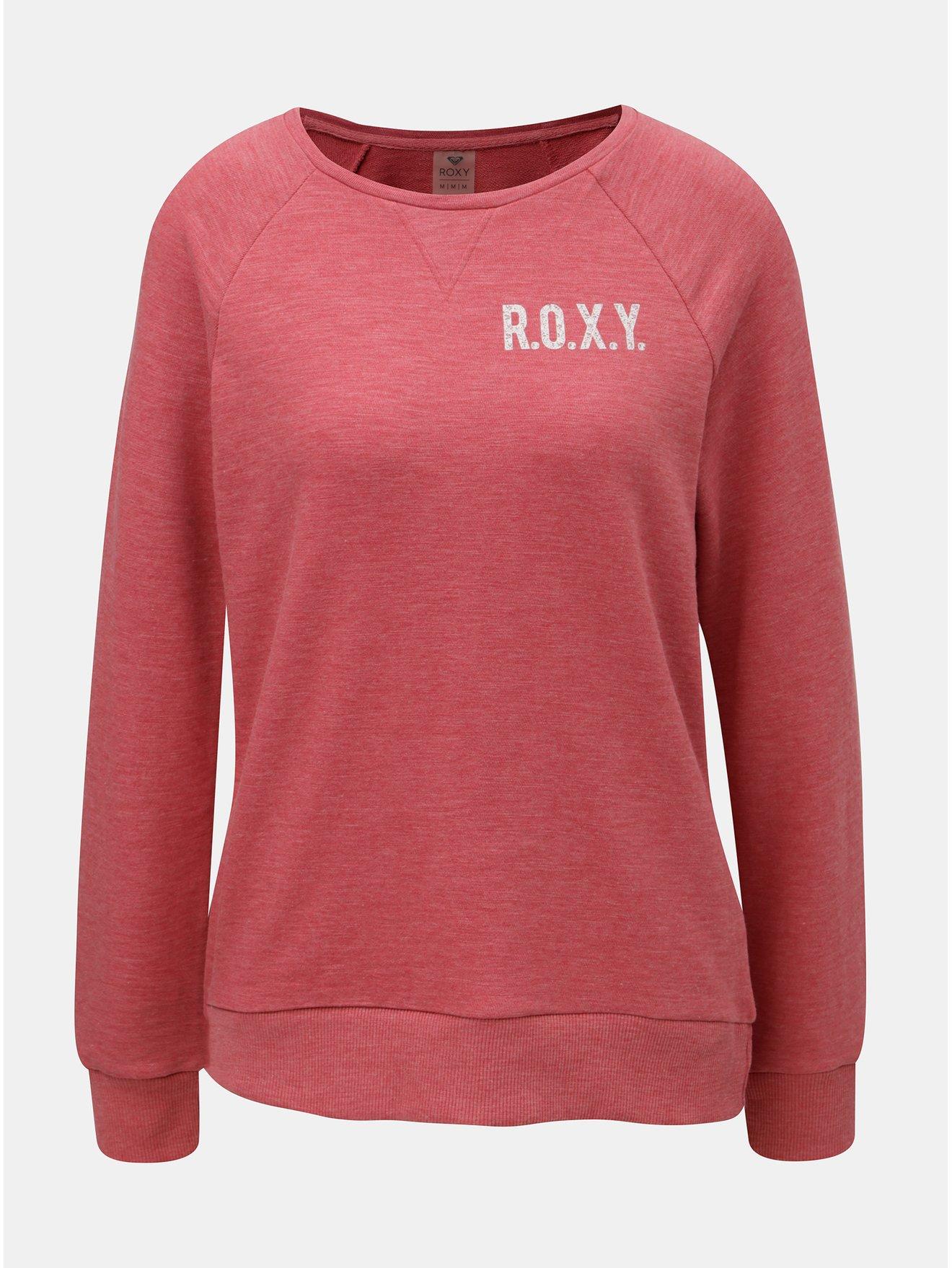 Červená dámská mikina s potiskem na zádech Roxy Sunrise