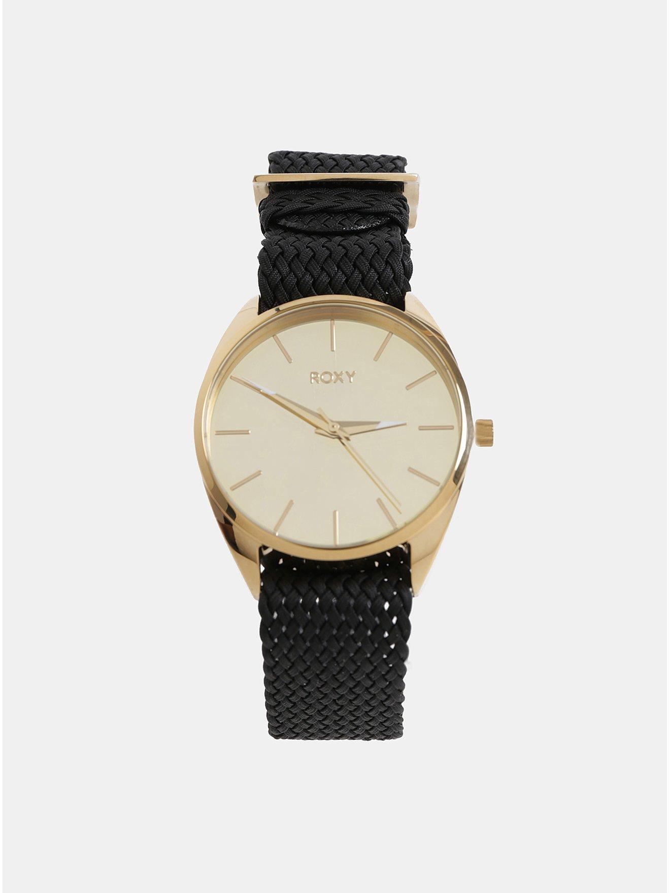 Dámské hodinky s třemi vyměnitelnými pásky v černé a zlaté barvě v dárkovém  balení Roxy Mirror 369edc13d1