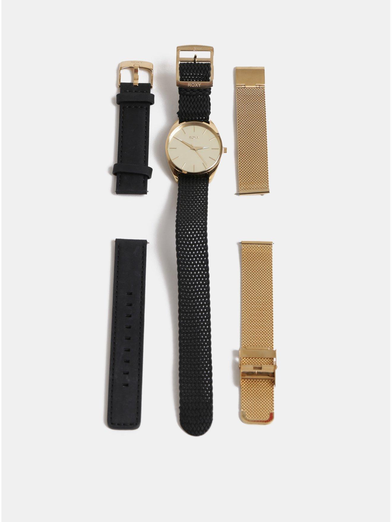 Dámské hodinky s třemi vyměnitelnými pásky v černé a zlaté barvě v dárkovém balení Roxy Mirror