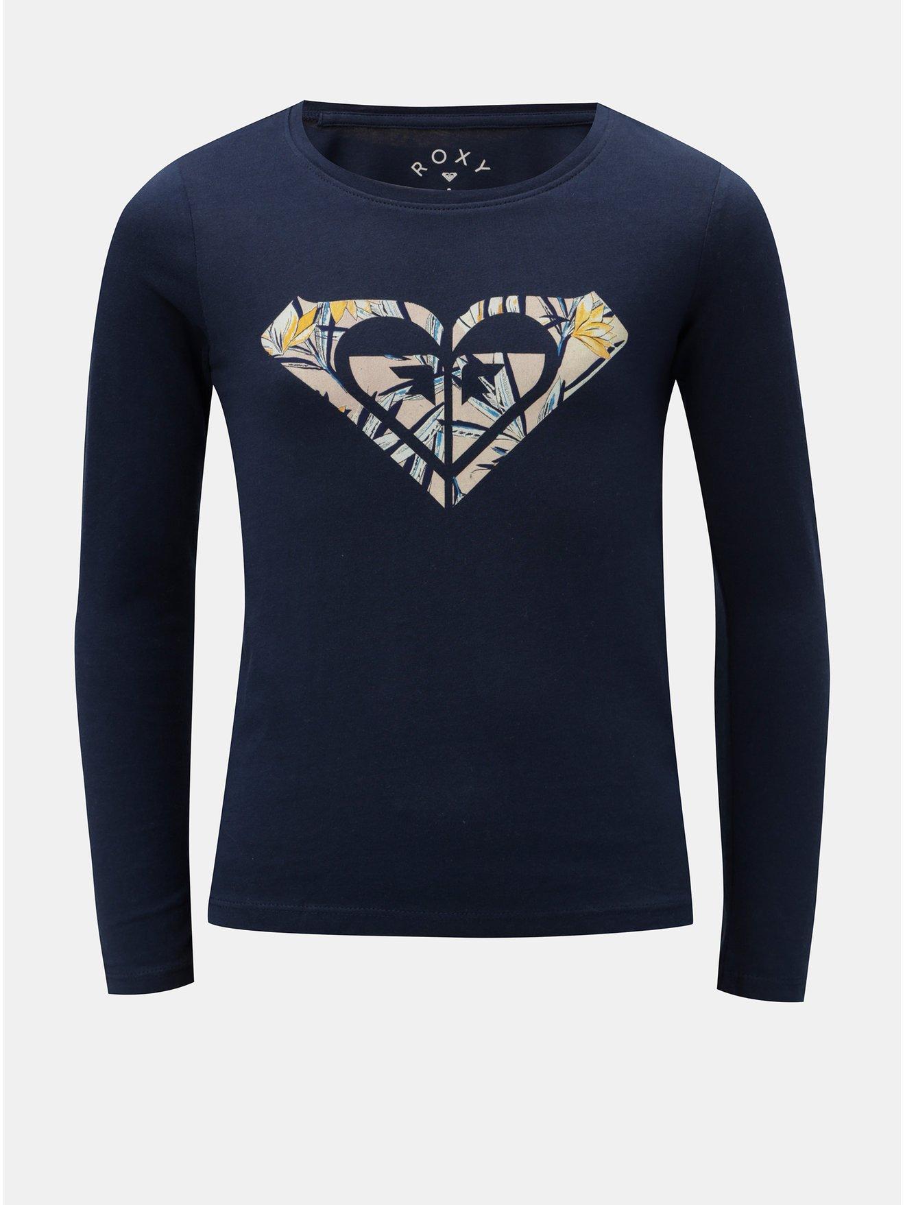 Tmavě modré holčičí tričko s potiskem loga Roxy Graduala