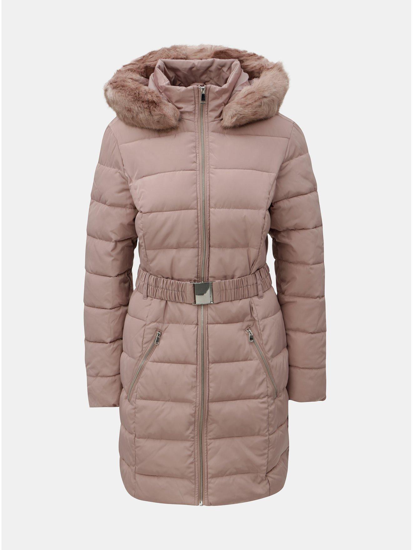 Starorůžový prošívaný zimní kabát s odnímatelným umělým kožíškem Dorothy  Perkins Tall 8e88191ac9