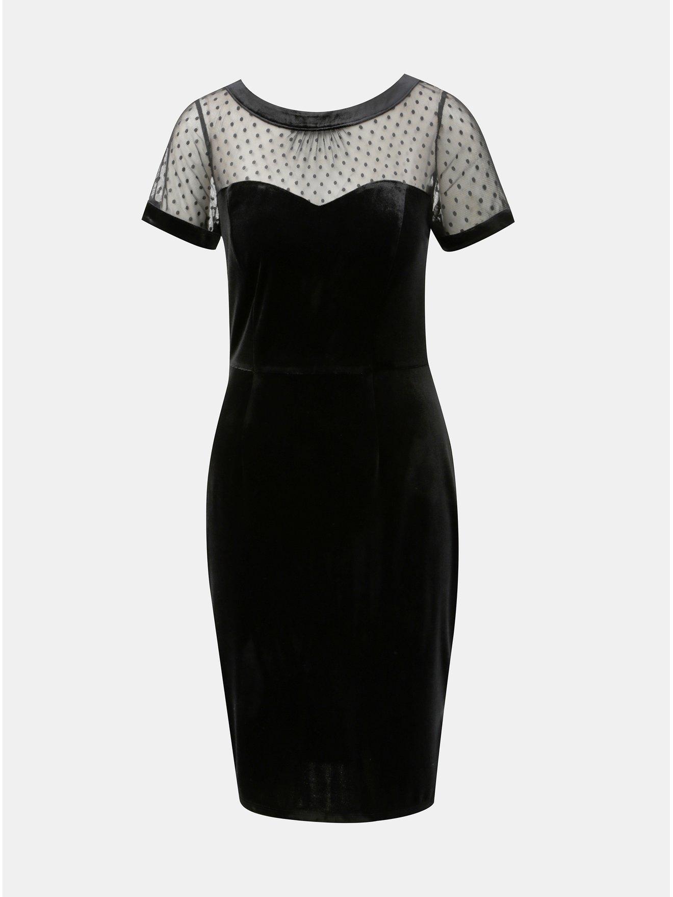 Černé sametové pouzdrové šaty s průsvitným sedlem M Co Velvet 389324ba4bc