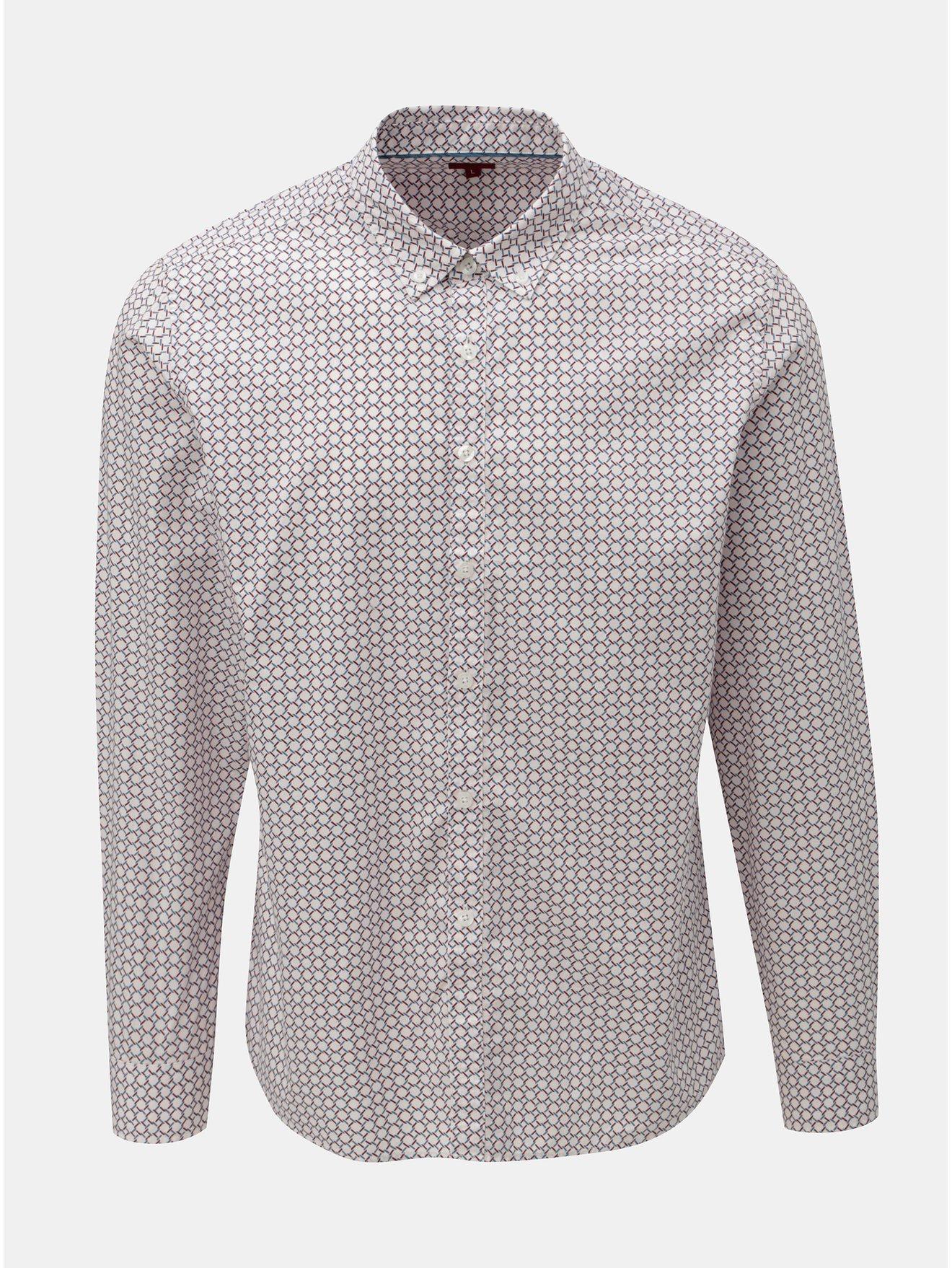 Světle růžová vzorovaná košile s dlouhým rukávem Merc