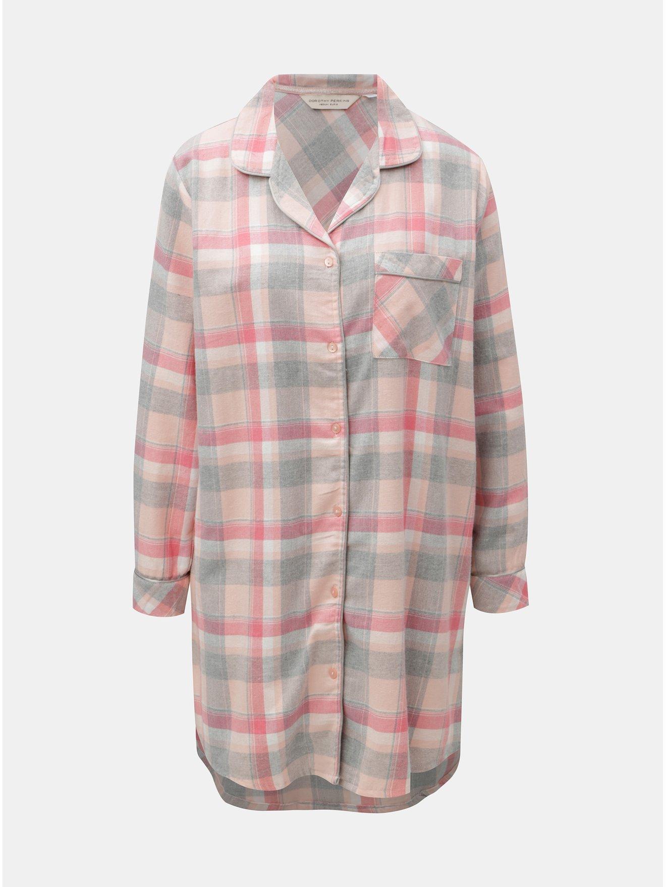 Růžová károvaná noční košile Dorothy Perkins