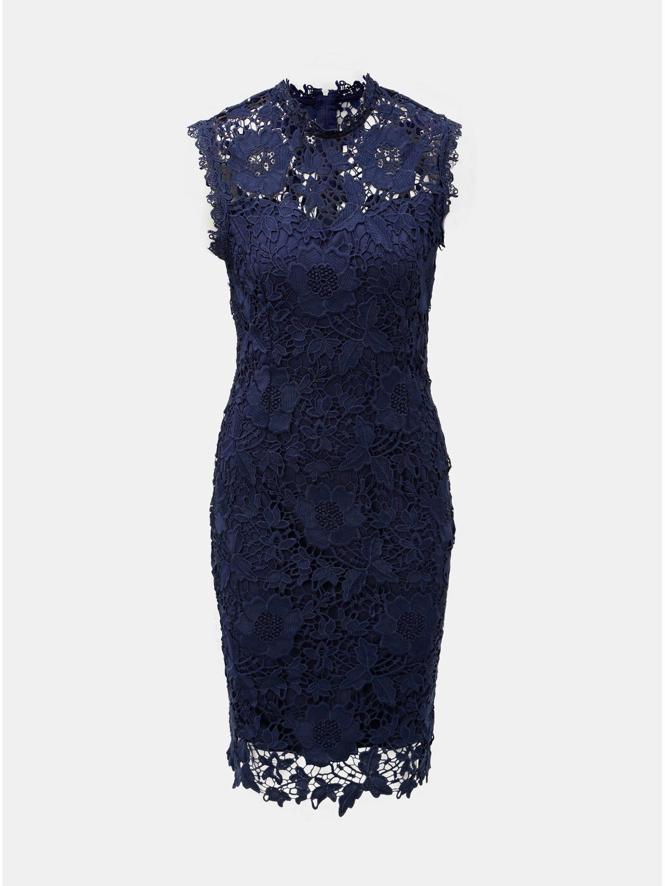 Tmavě modré krajkové pouzdrové šaty Dorothy Perkins 98dfc897d6