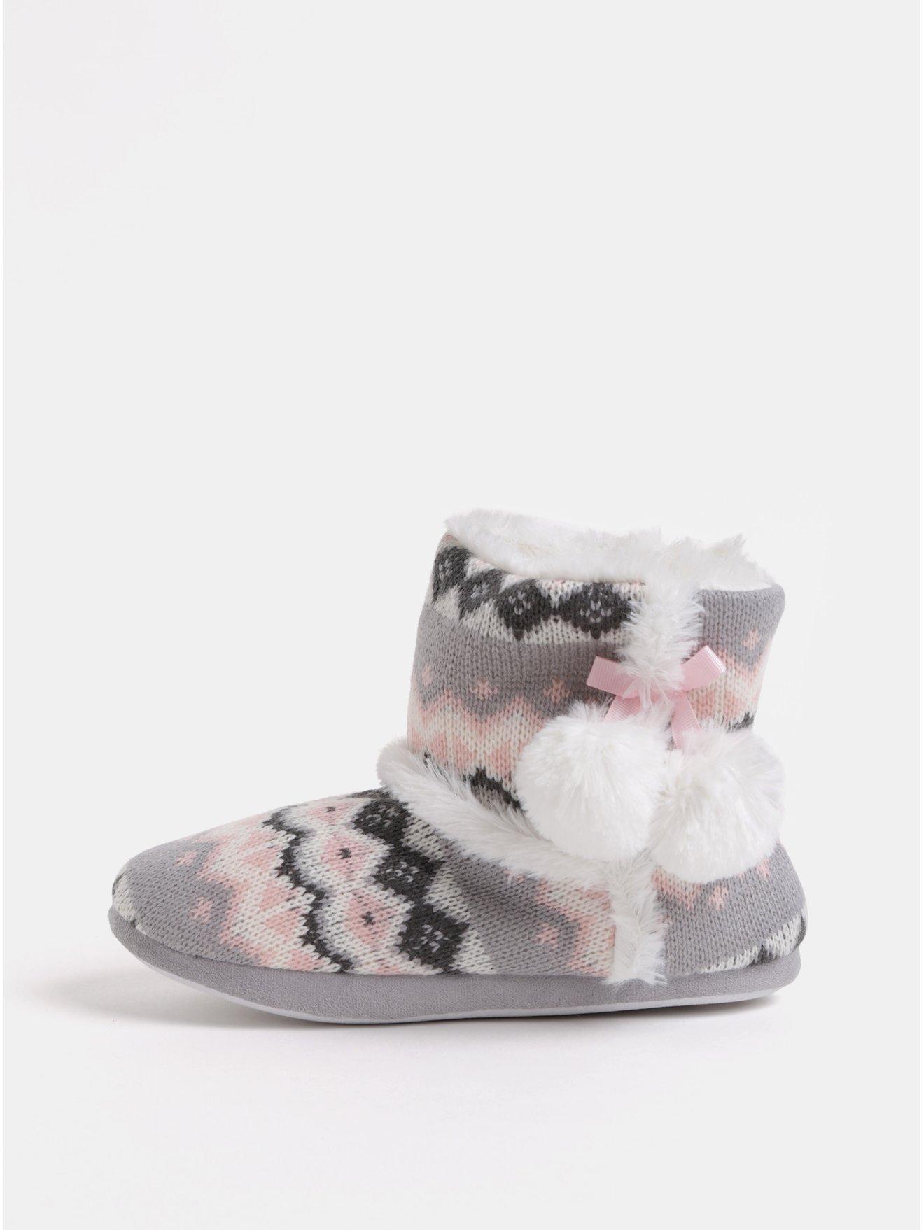Bílo-růžové papuče s bambulí a vnitřním umělým kožíškem Dorothy Perkins Bootie