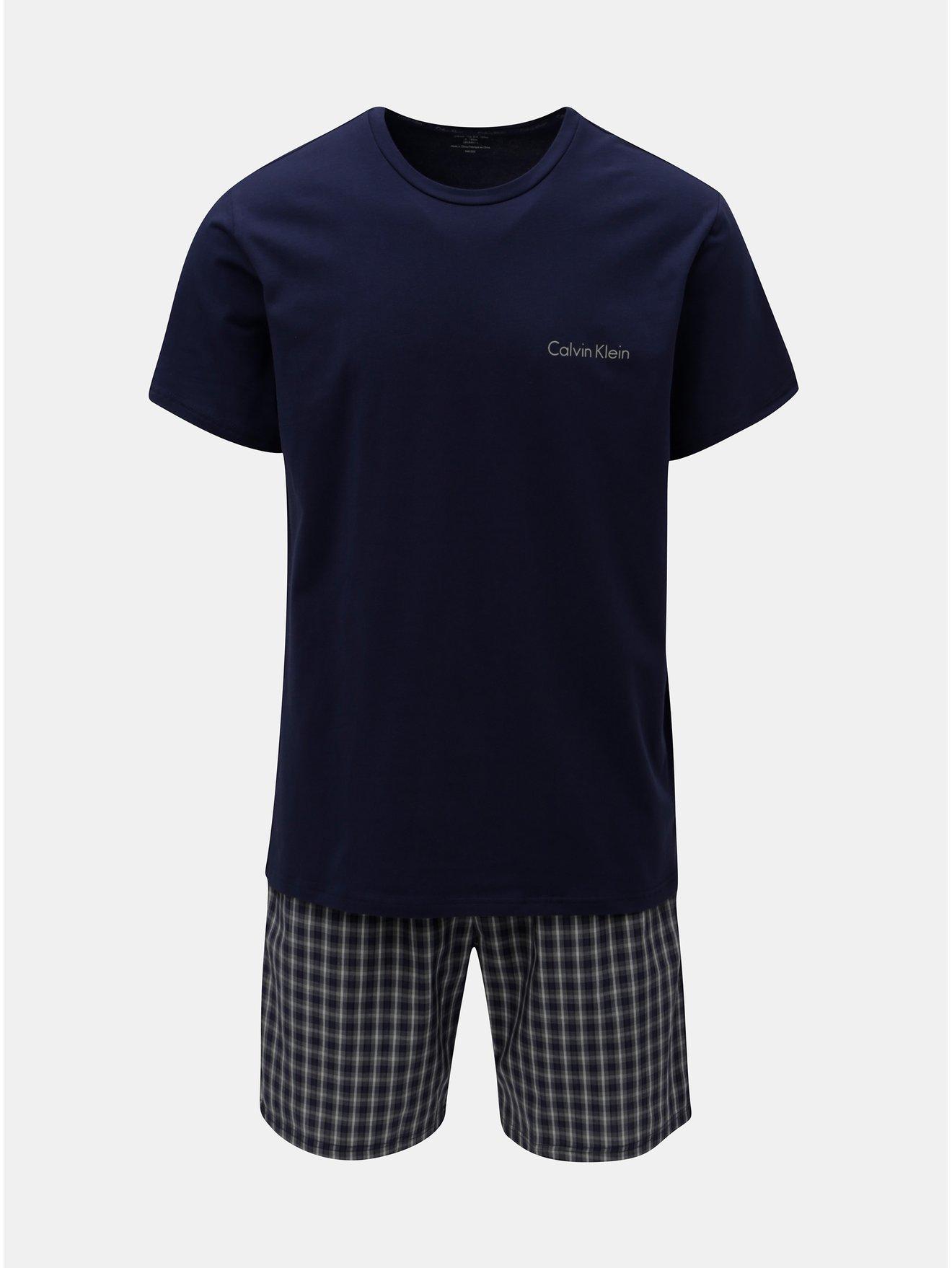 Fotografie Tmavě modré dvoudílné pánské pyžamo Calvin Klein Underwear