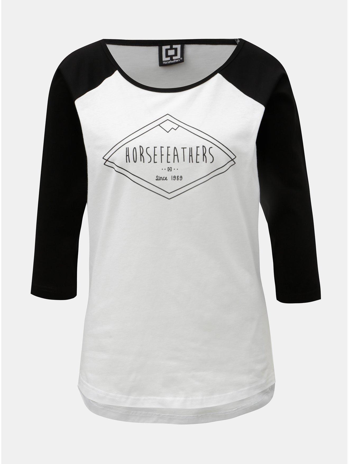 Fotografie Černo-bílé dámské tričko s 3/4 rukávem a potiskem Horsefeathers Neve