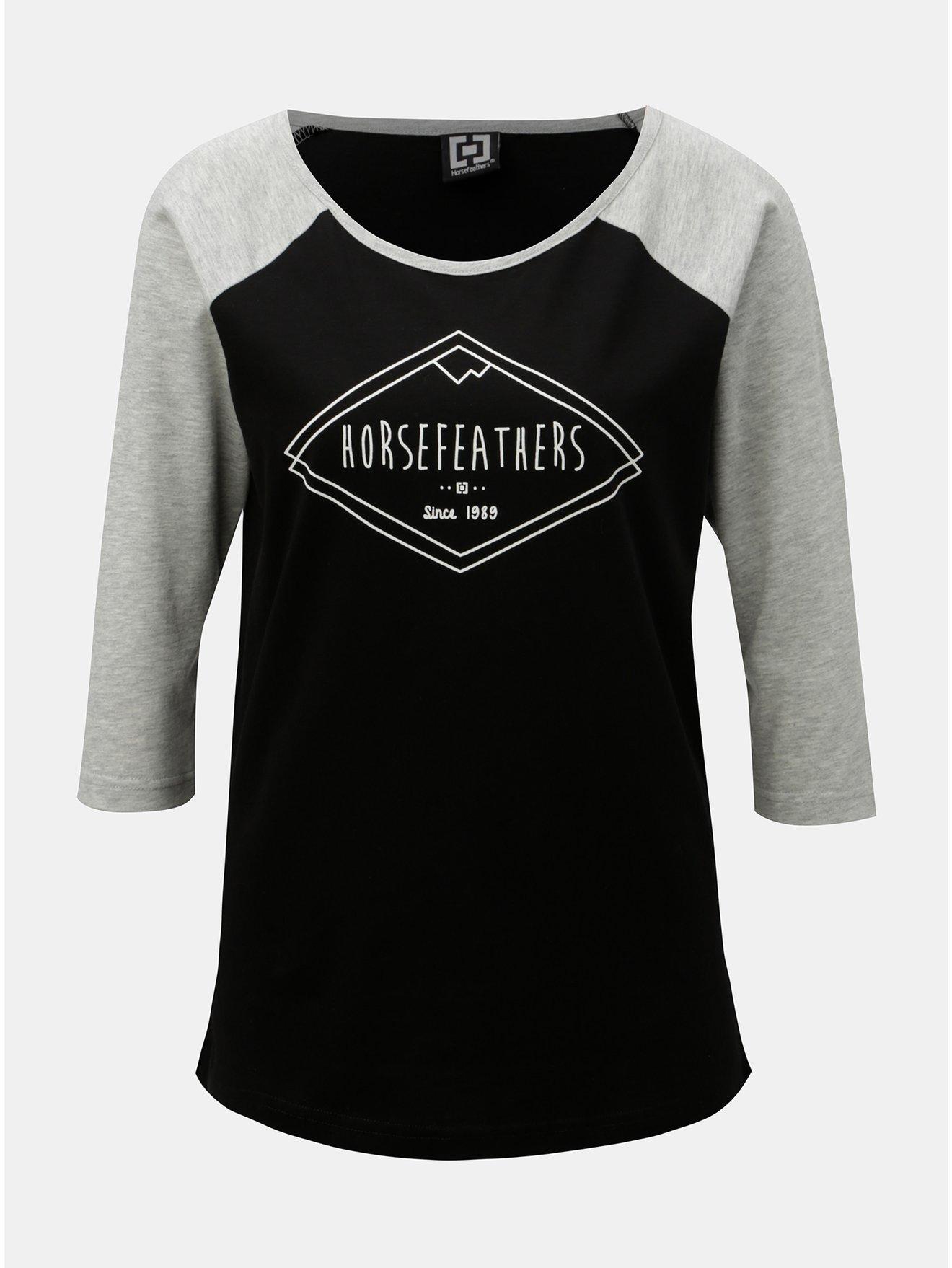 Fotografie Šedo-černé dámské tričko s 3/4 rukávem a potiskem Horsefeathers Neve