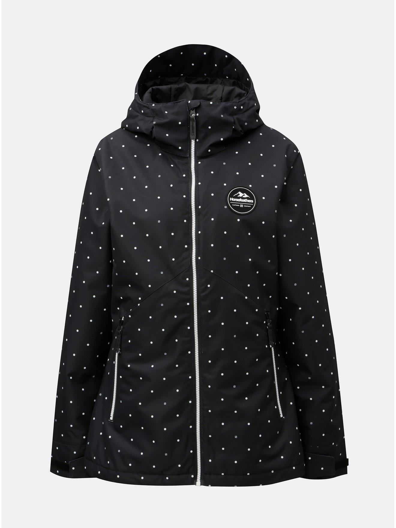 Černá dámská puntíkovaná funkční zimní bunda Horsefeathers Judy
