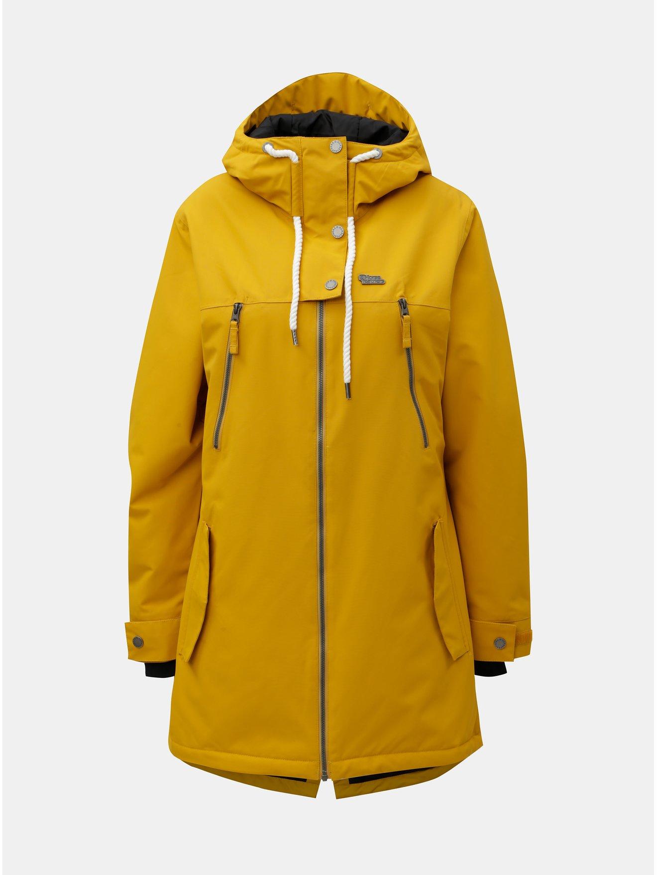 Žlutá dámská funkční dlouhá zimní bunda Horsefeathers Chipy