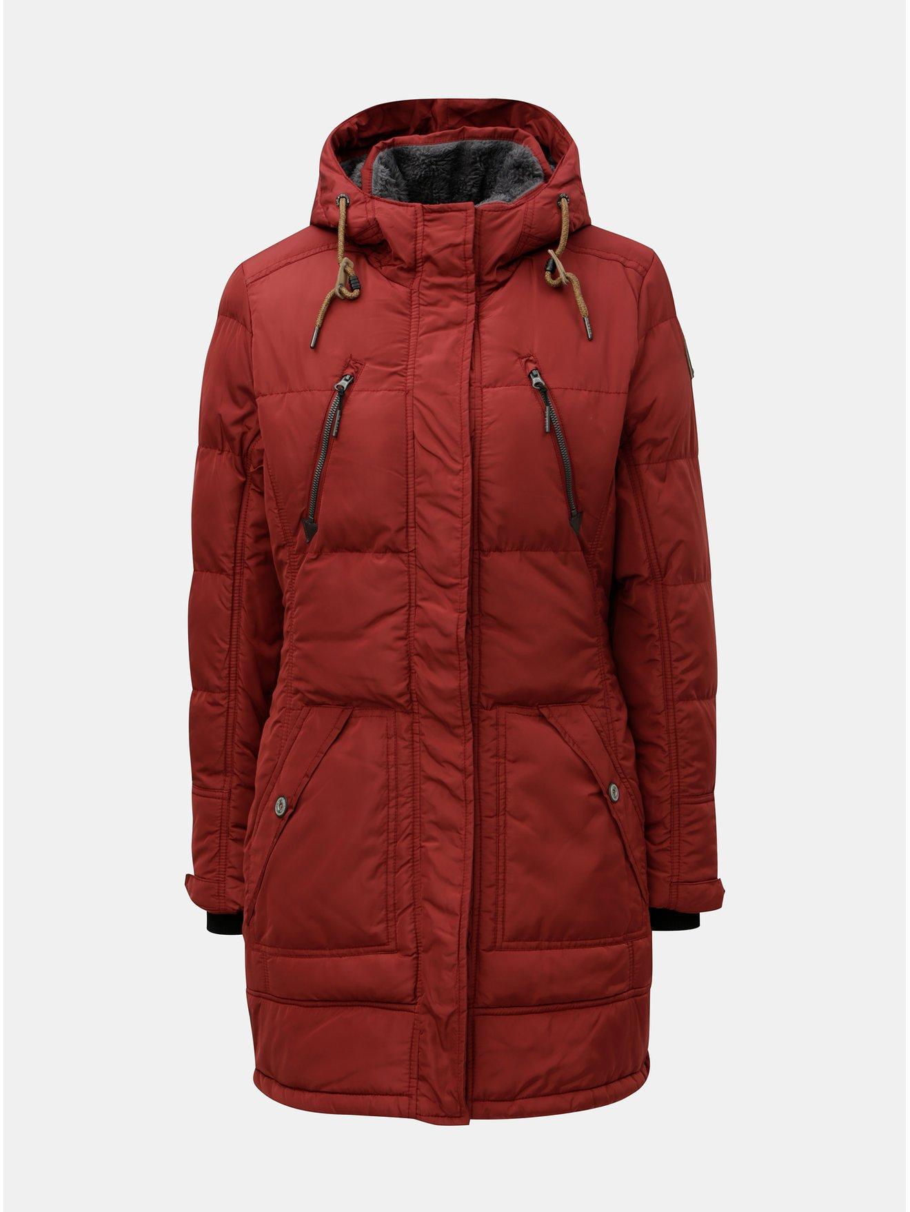 Červený dámský voděodolný zimní kabát killtec Treva