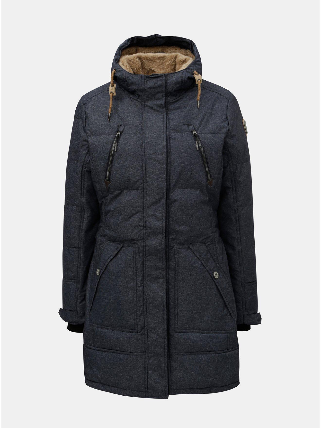 Modrý dámský žíhaný zimní voděodolný kabát killtec Treva